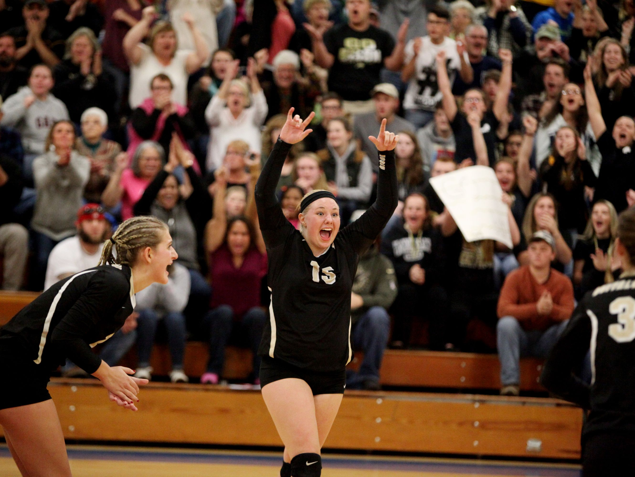 Buffalo Gap's Camille Ashby celebrates a point during the 2A girls volleyball championship at R.E. Lee High School in Staunton on Saturday Nov. 12, 2016.