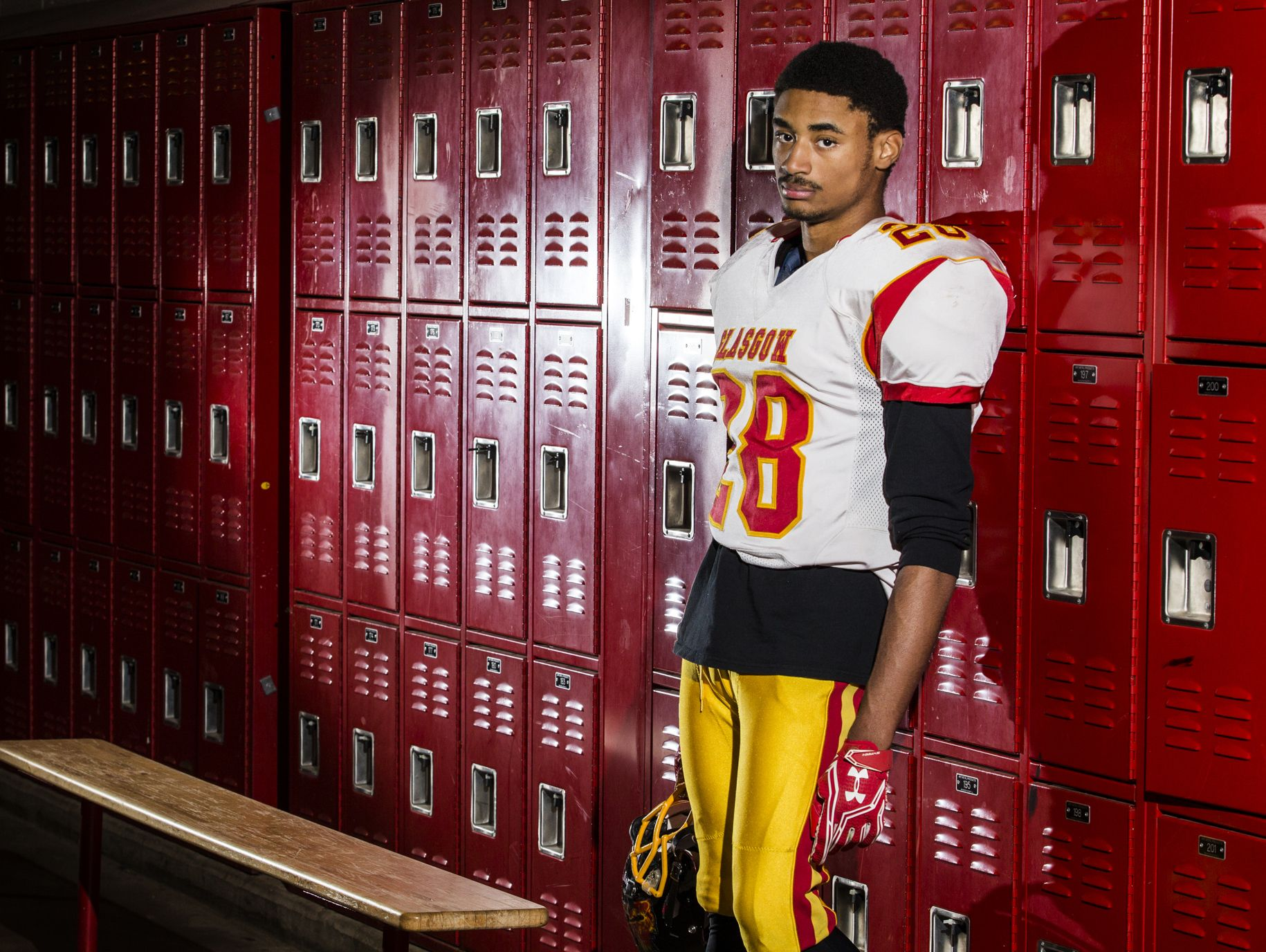 Glasgow's Tymere Wilson poses for a portrait in the locker room at Glasgow High School on Monday afternoon.