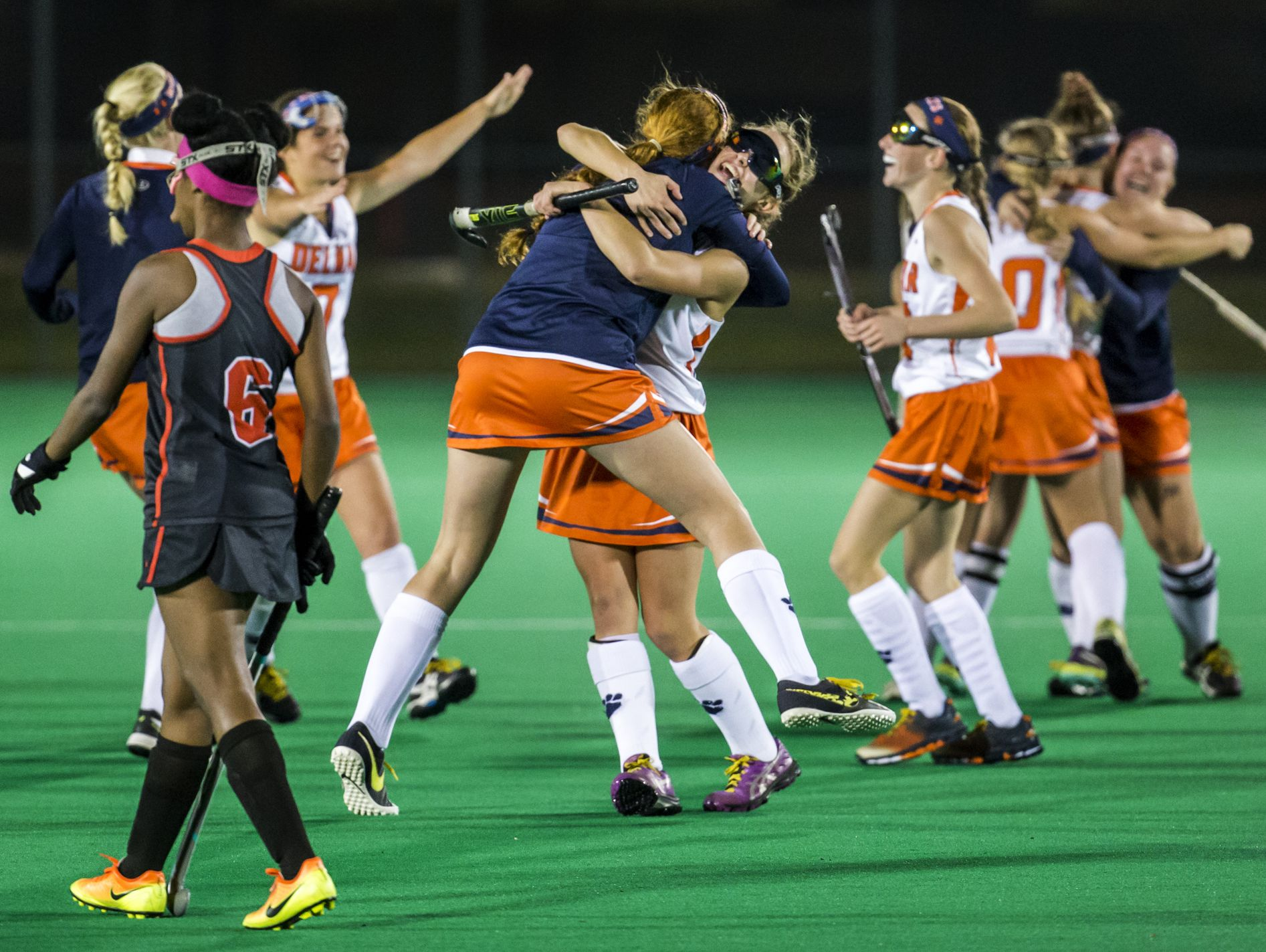 Delmar players celebrate their 2-0 win over Polytech in their DIAA state tournament semi-final game at the University of Delaware in Newark on Tuesday night.