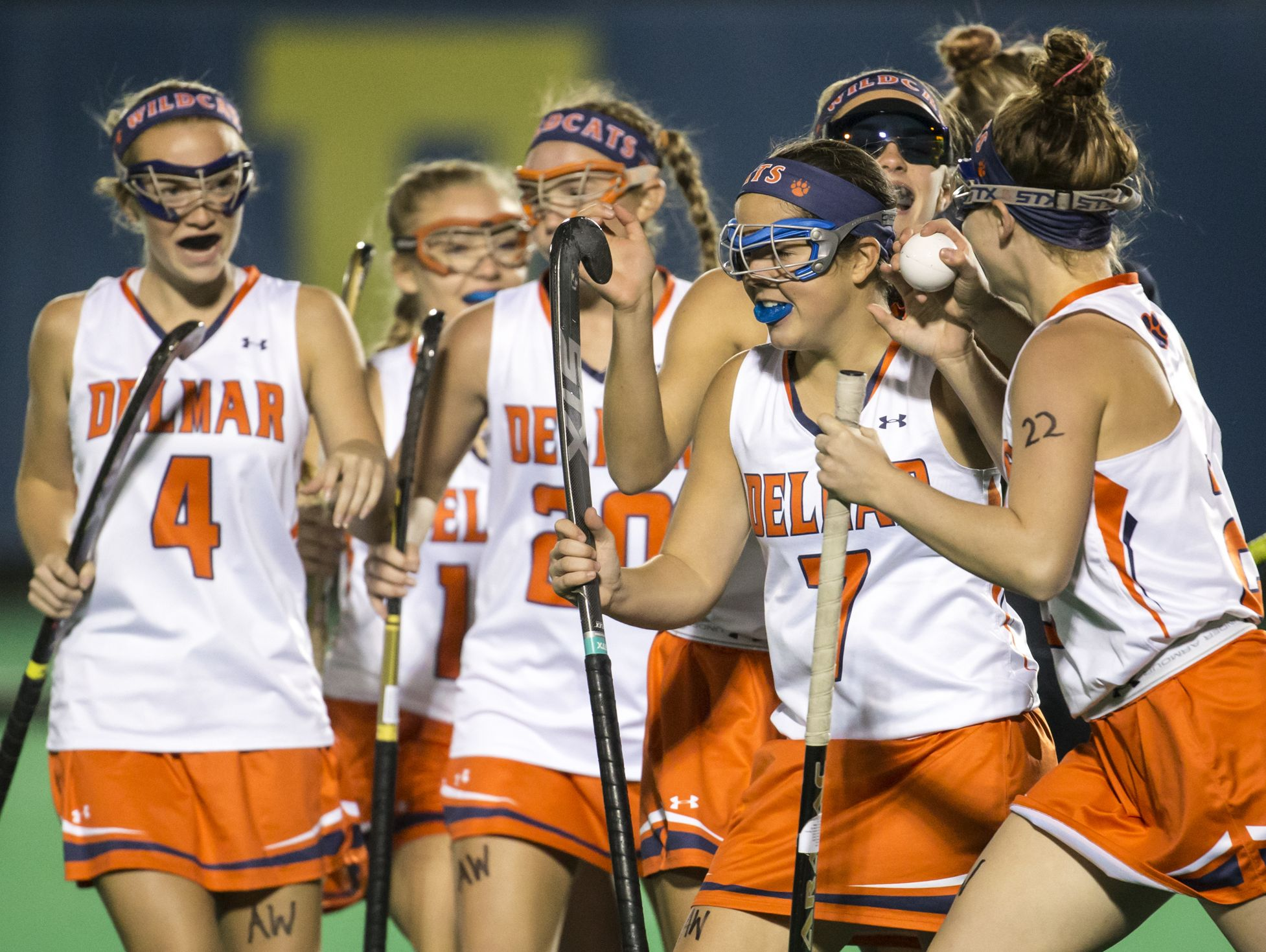 Delmar players celebrate a goal in the first half of Delmar's 2-0 win over Polytech in their DIAA state tournament semi-final game at the University of Delaware in Newark on Tuesday night.