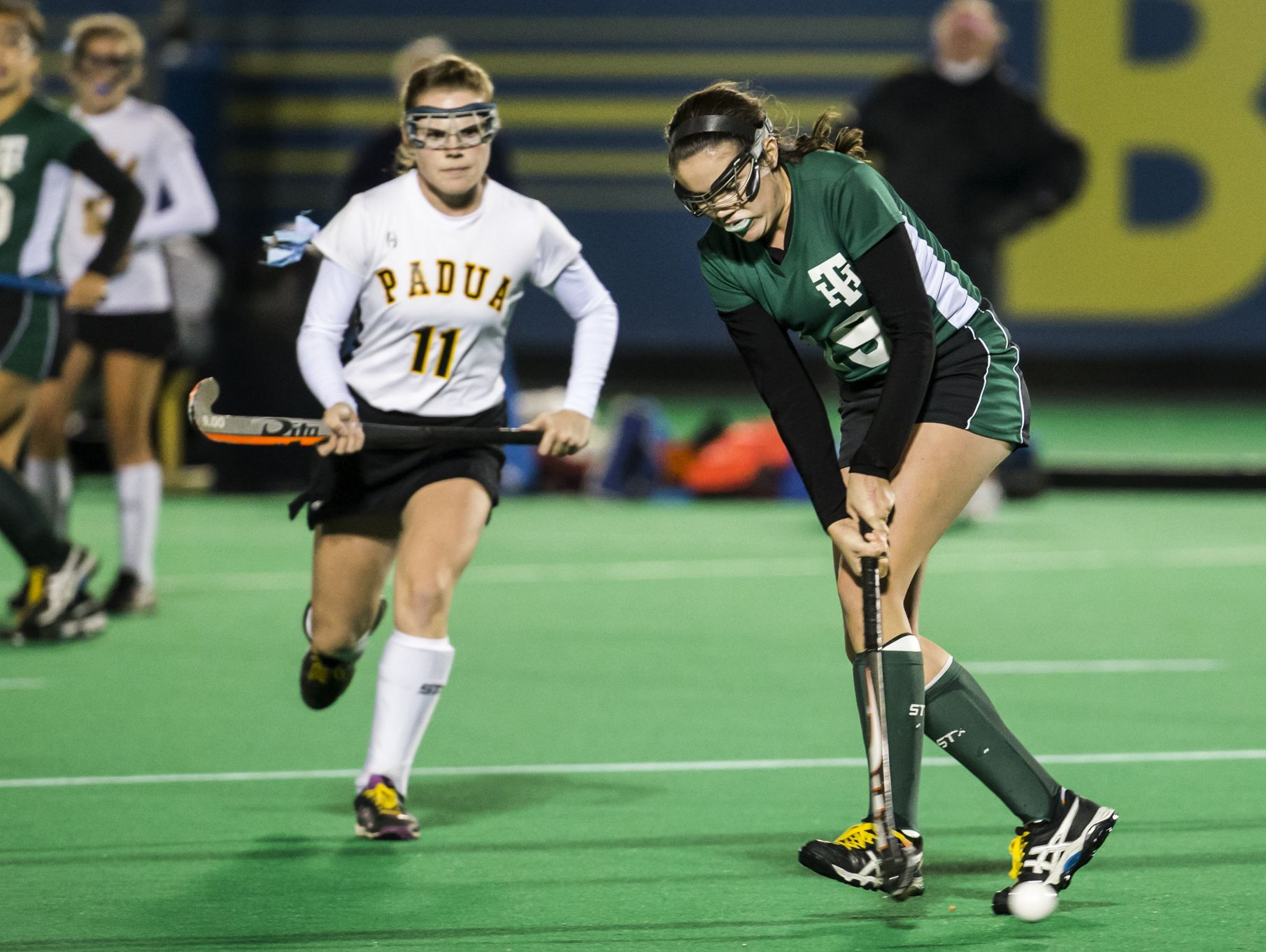 Tower Hill's Natalie Hobbs (right) puts a shot on goal in the second half of Tower Hill's 4-0 win over Padua in their DIAA state tournament semi-final game at the University of Delaware in Newark on Tuesday night.