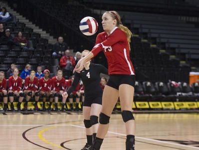 Riverheads' Mariah Clark makes a return during their Group 2A volleyball state championship match against Gate City in Richmond on Saturday, Nov. 22, 2014.