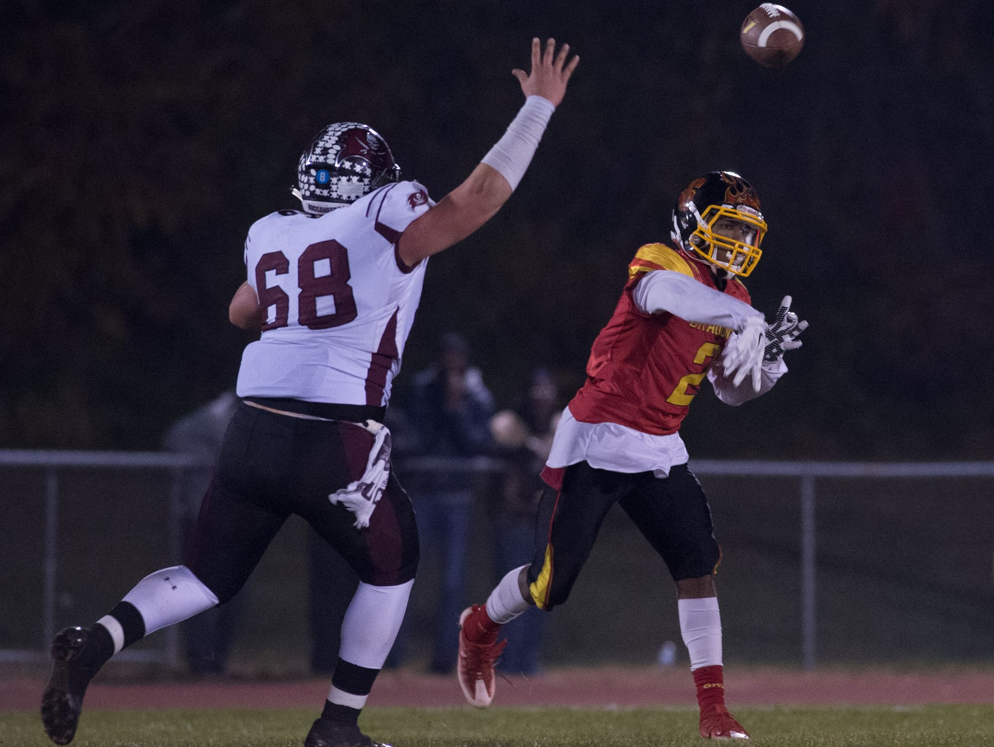 Glasgow's Michael Credle (2) throws a near the sideline in the first quarter against Caravel in the opening round of the DIAA Division II playoffs at Glasgow High School.