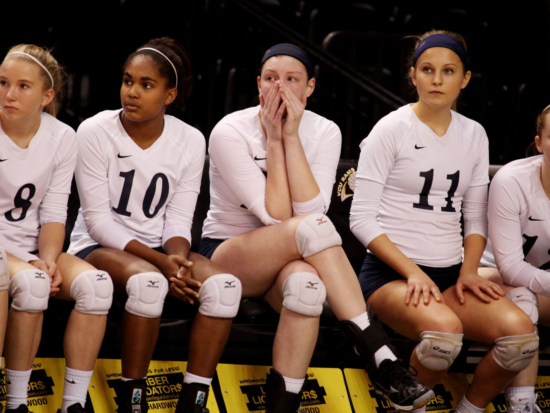 R.E. Lee players wait for awards after their loss to Marion Senior at the Virginia High School League 2A Girls Volleyball State Championship held at the Virginia Commonwealth University's Stuart C. Siegel Center in Richmond on Saturday November 19, 2016.