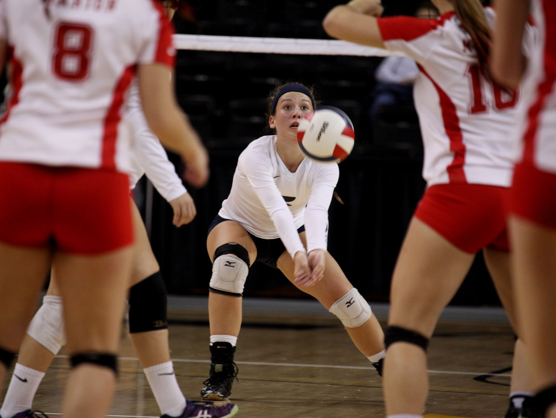Lee's Meghan Wood bumps the ball during the Virginia High School League 2A Girls Volleyball State Championship held at the Virginia Commonwealth University's Stuart C. Siegel Center in Richmond on Saturday November 19, 2016.