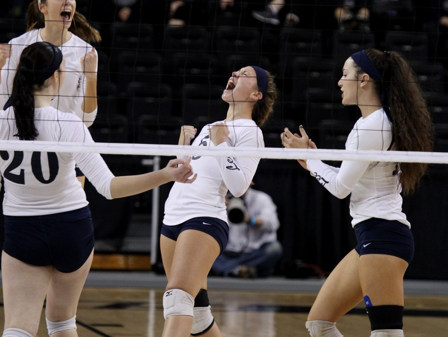 The Lee volleyball team celebrates a point during the Virginia High School League 2A Girls Volleyball State Championship held at the Virginia Commonwealth University''s Stuart C. Siegel Center in Richmond on Saturday November 19, 2016.