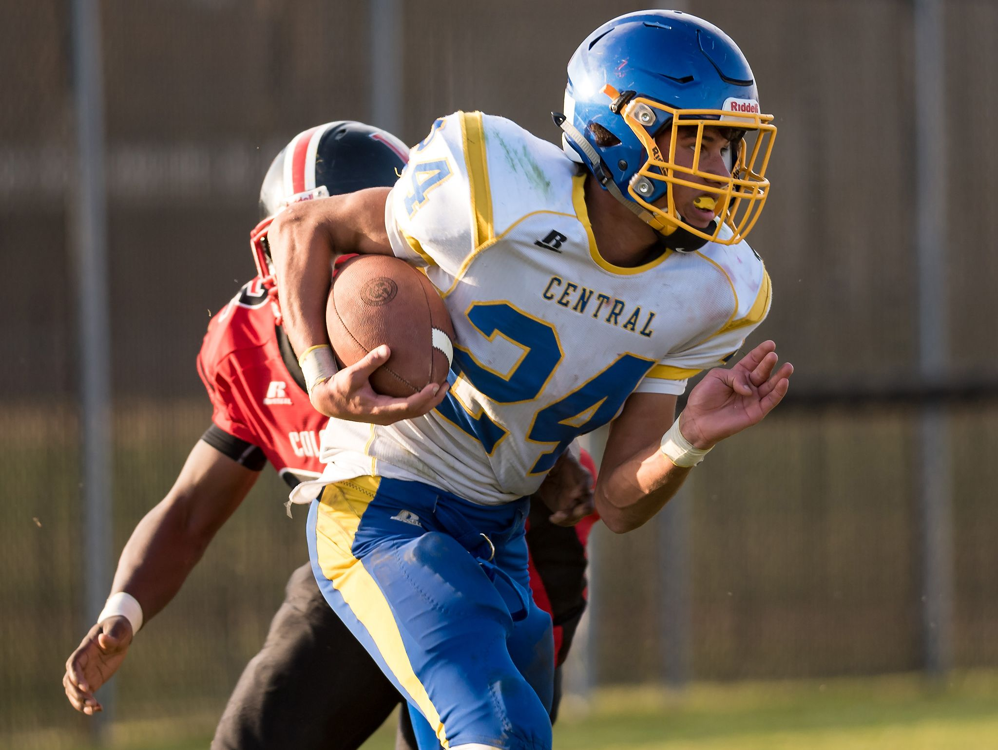 Isaiah Barnes of Sussex Central carries the ball as Sussex Central plays at William Penn in the opening round of DIAA Division II playoffs.