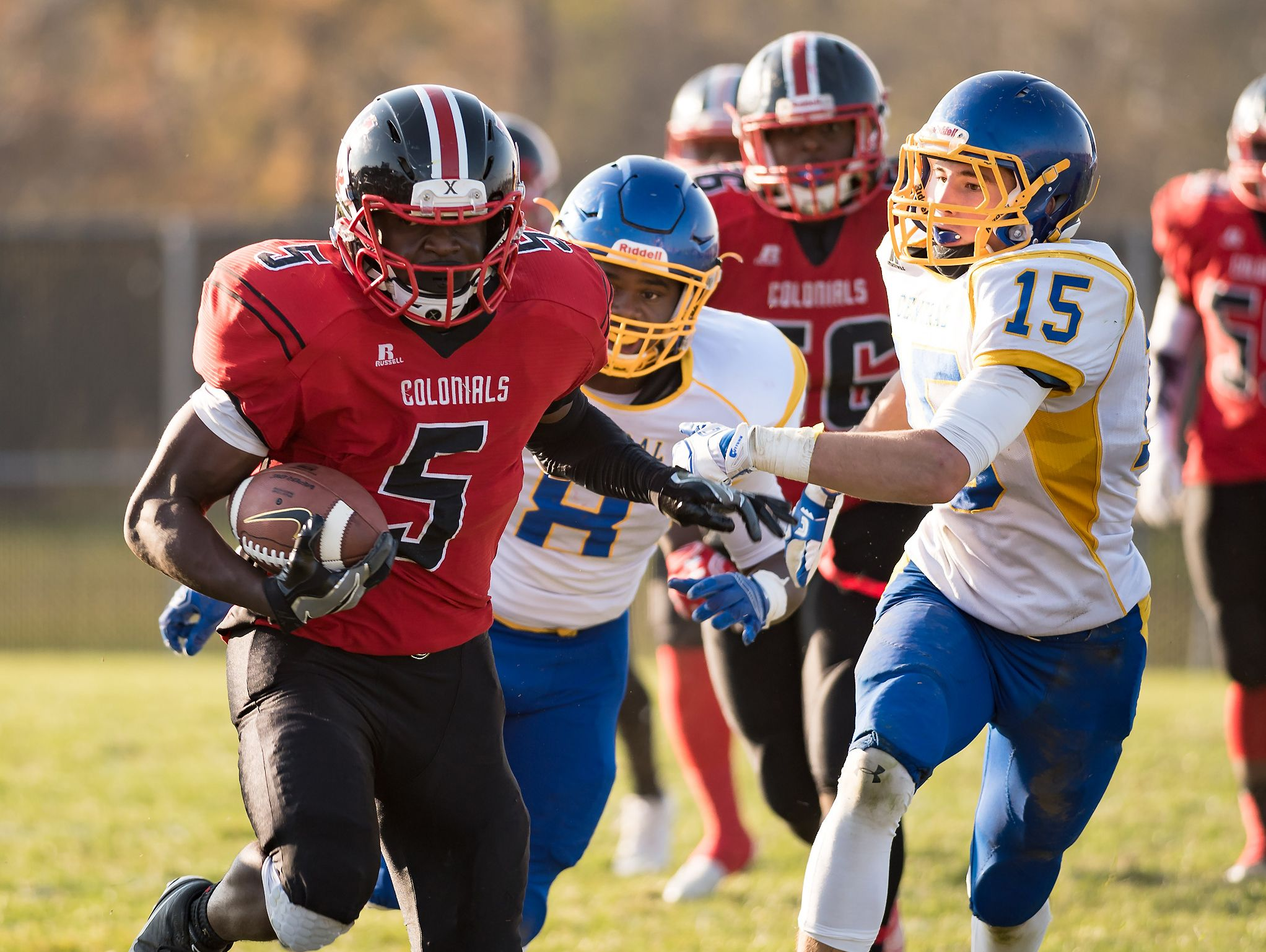 Angelo Ortiz carries the ball for William Penn as Sussex Central plays at William Penn in the opening round of DIAA Division II playoffs.