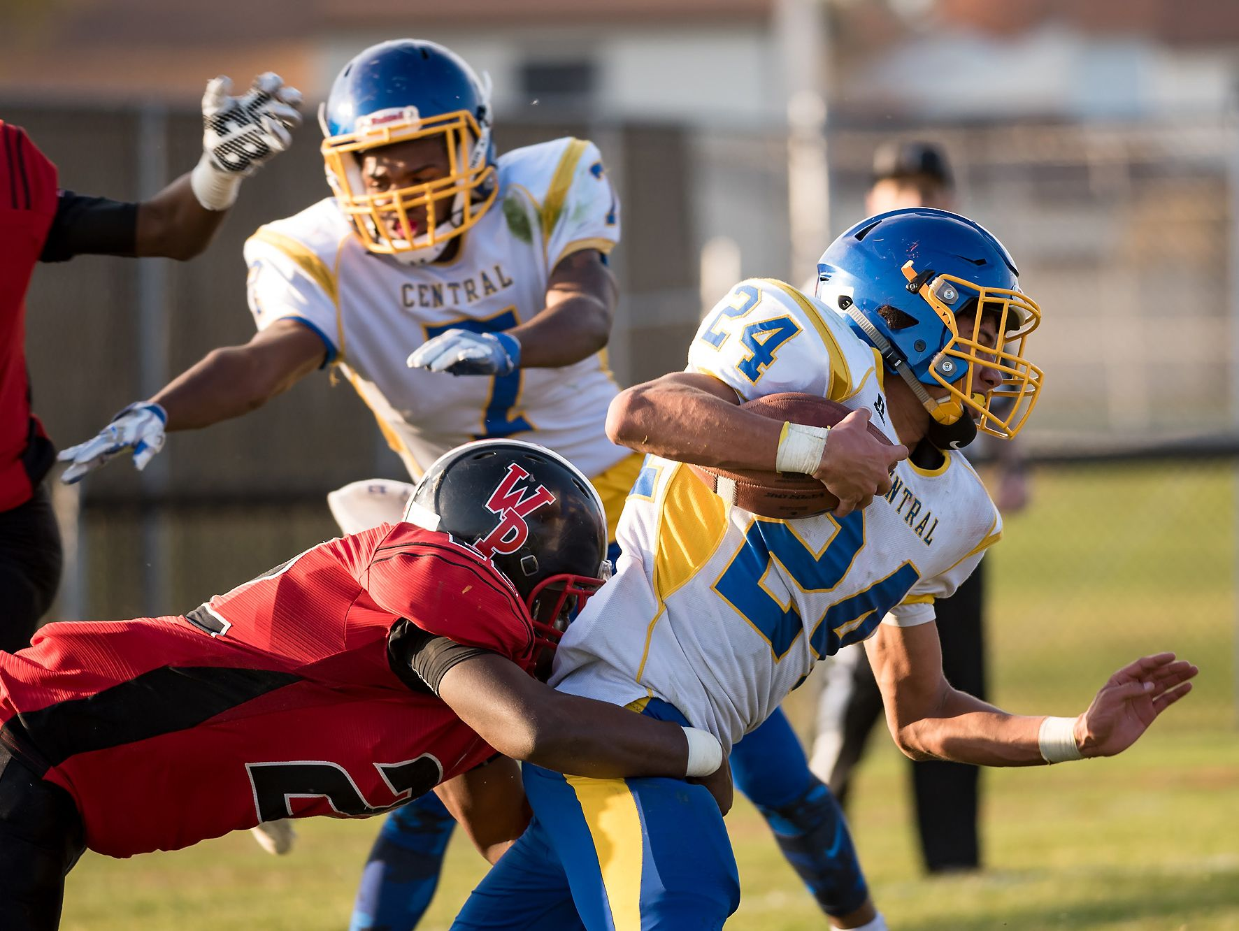 Isaiah Barnes of Sussex Central is tackled by Lance Edwards of William Penn as Sussex Central plays at William Penn in the opening round of DIAA Division II playoffs.