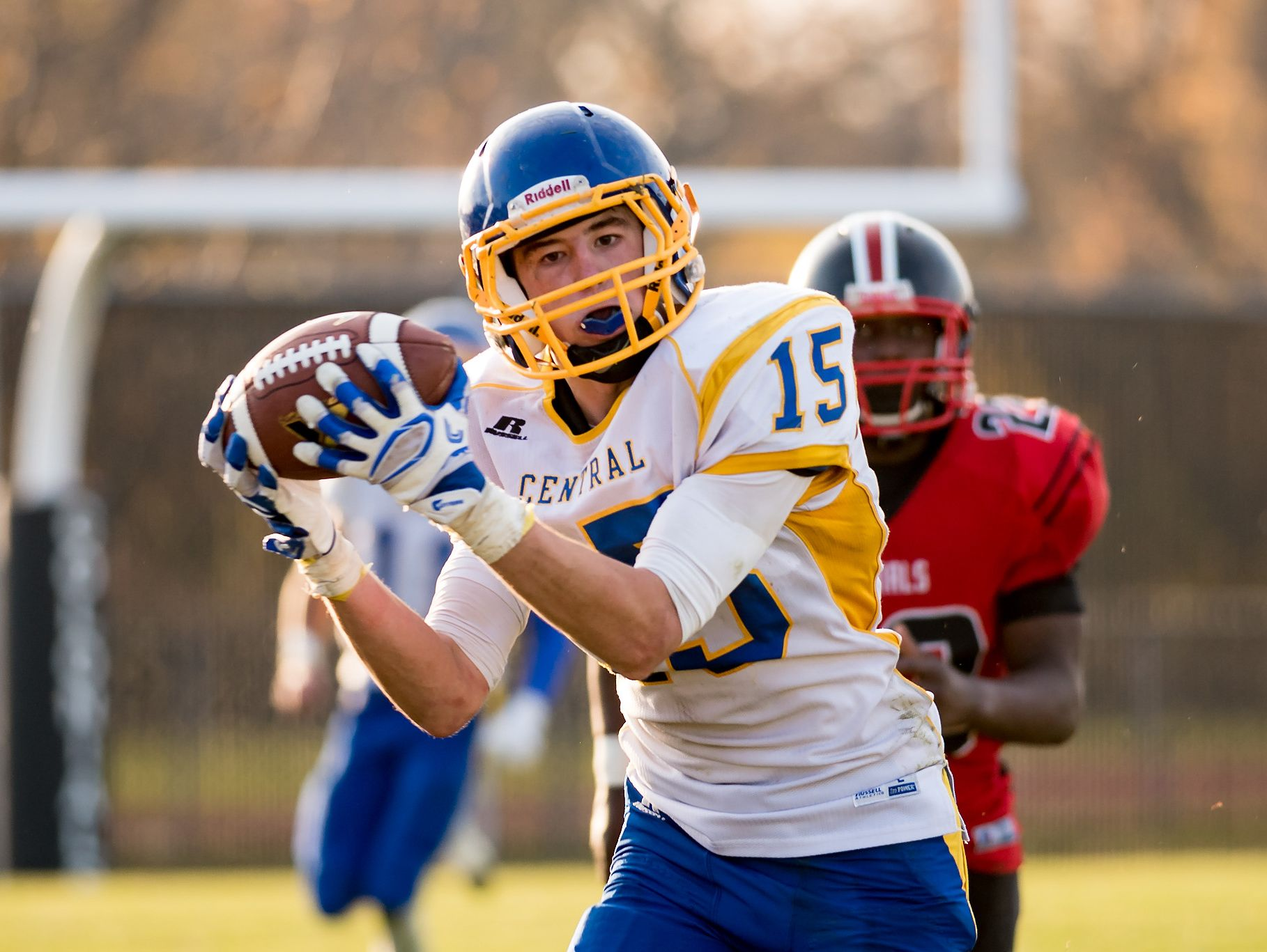 Mark Tolson of Sussex Central makes a catch as Sussex Central plays at William Penn in the opening round of DIAA Division II playoffs.