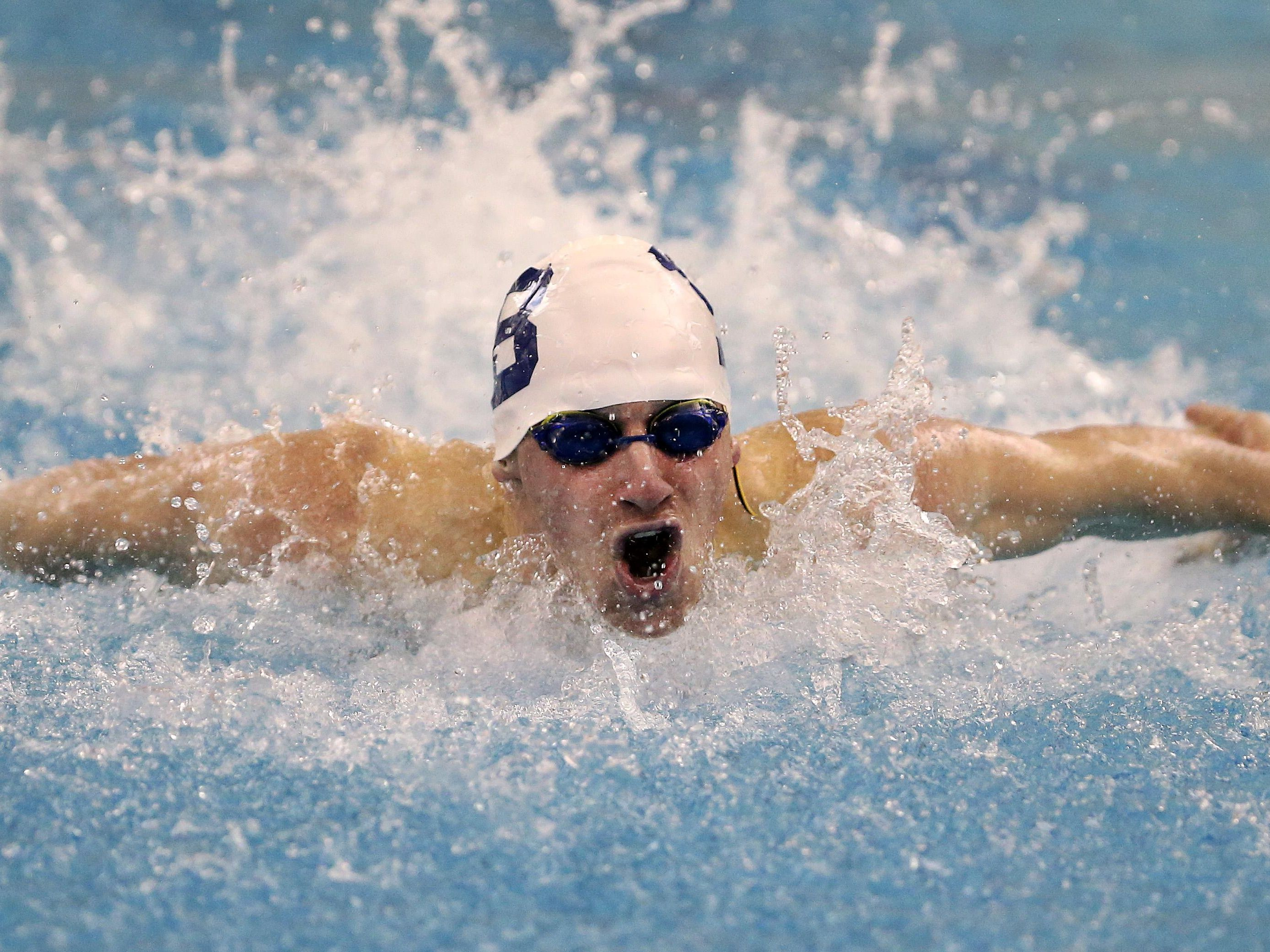 Brigthon's Noah Stevens wins the 100 Yard Butterfly with a time of 50.30 to win the Section V Class B championship.