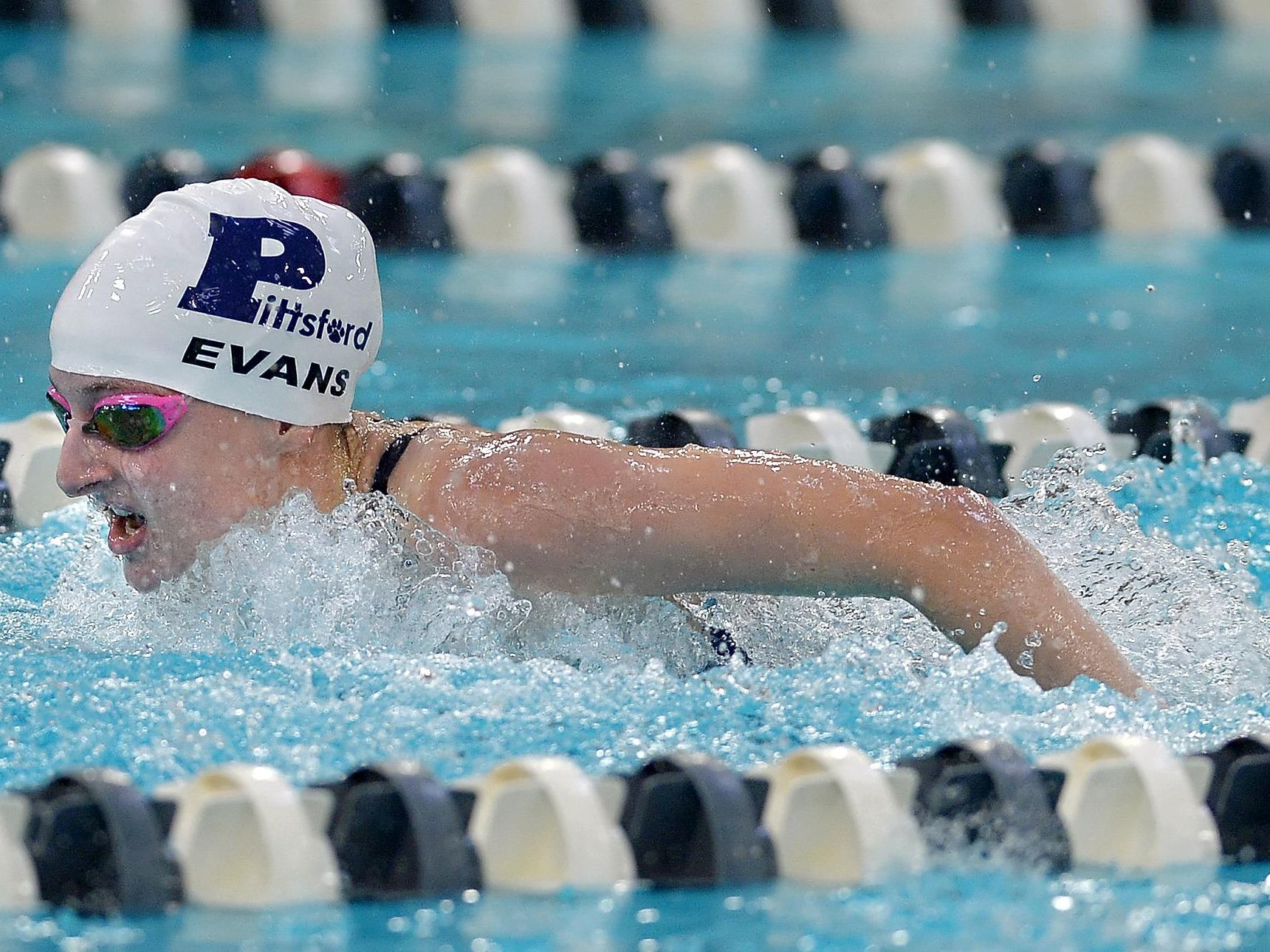 Pittsford's Becca Evans wins the 100 yard butterfly with a time of 59.60 during regular season meet against Victor at Pittsford Mendon High School on Thursday, Sept. 8, 2016.
