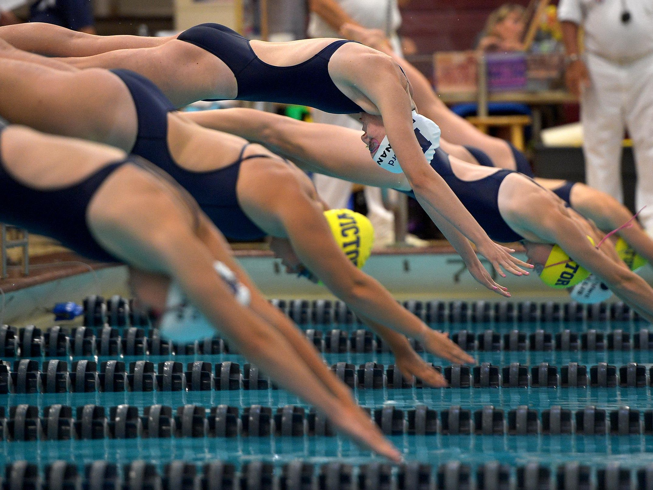 Pittsford's Molly Brennan, top center, and other swimmers take off from the blocks in the 100 yard freestyle.