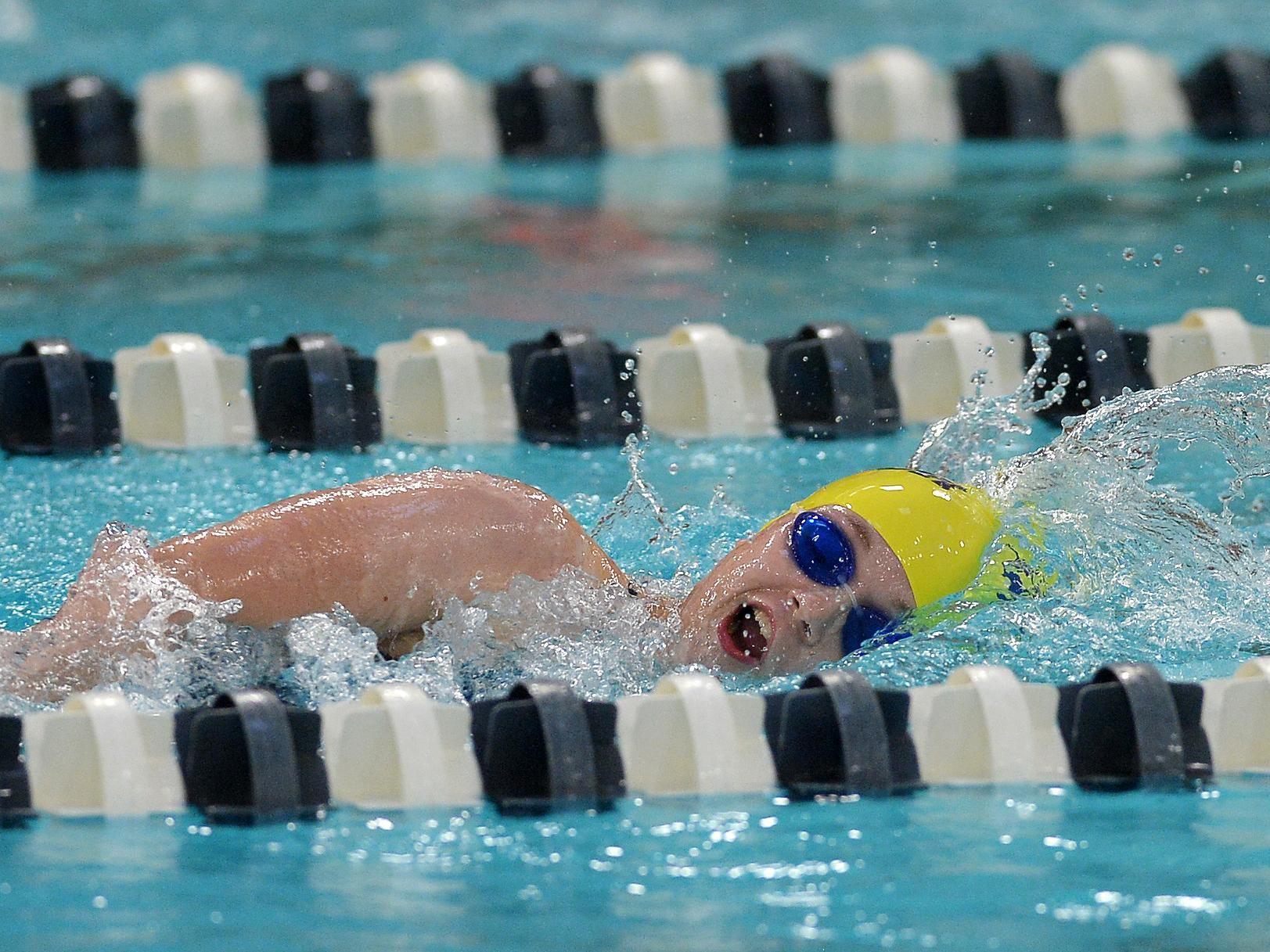 Victor's Abby Fenn swims the 500 yard freestyle.