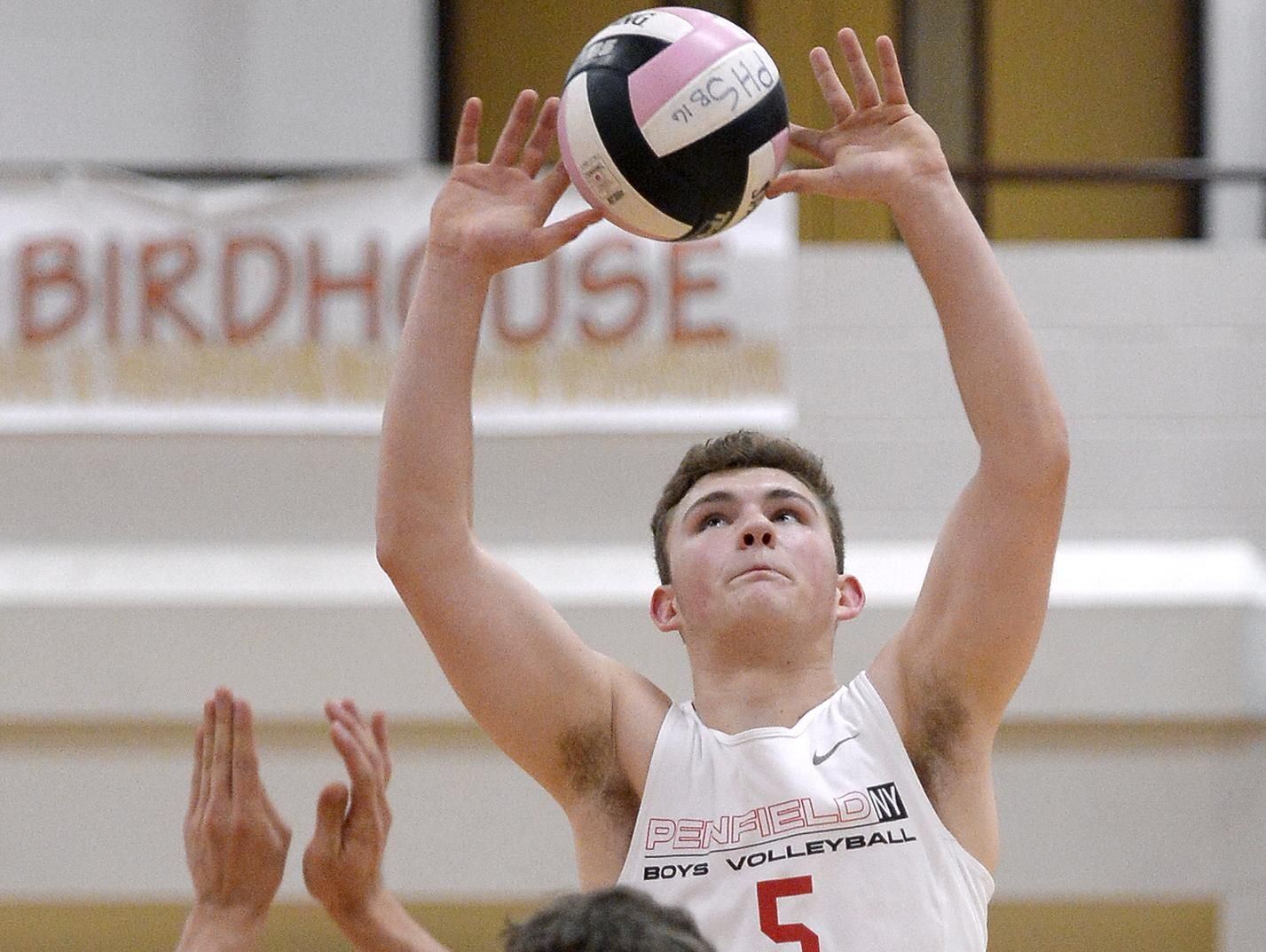 Penfield's Jordan Solomon sets the ball for teammate Andy Scott during a Section 5 Class A sectional quarterfinal at Penfield High School on Wednesday. Penfield advanced with a 3-0 win over Webster (25-14, 25-13, 25-11).
