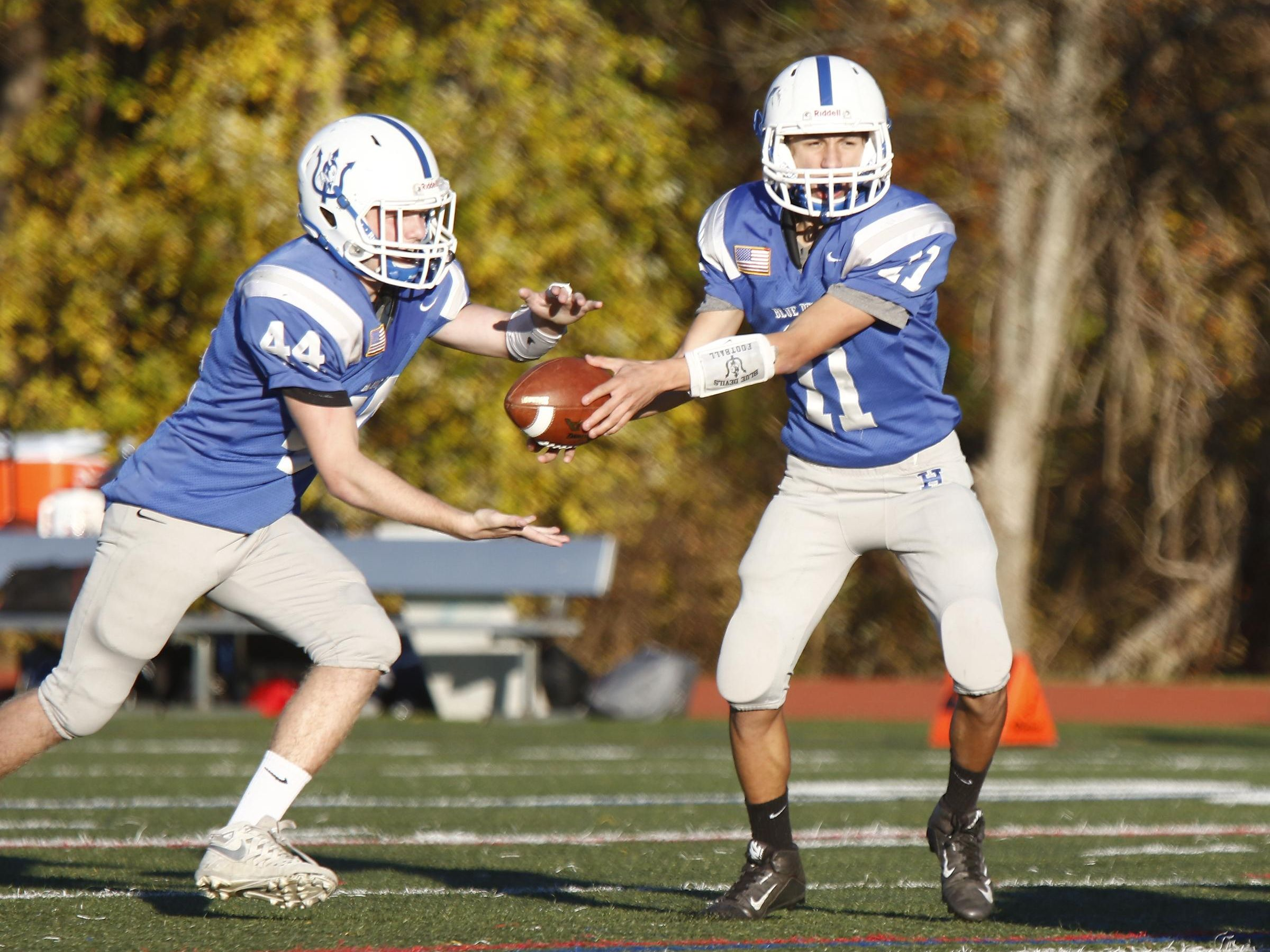 Haldane's Luke Junjulas (11) hands off to Sam Giachinta (44) during their 26-6 win over Tuckahoe in the Section 1 Class D championship football game at Mahopac High School on Friday, November 4, 2016.