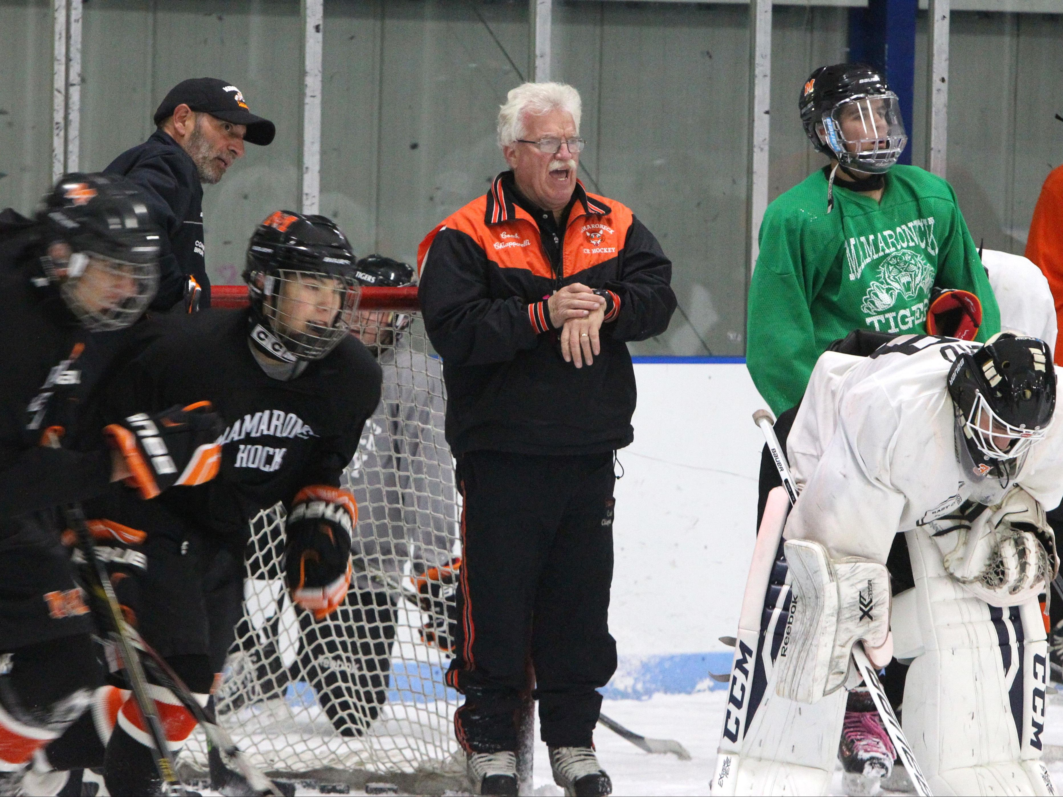 Mamaroneck hockey coach Mike Chiapparelli runs his team through sprints during a practice at Hommocks ice rink Nov. 9, 2016.