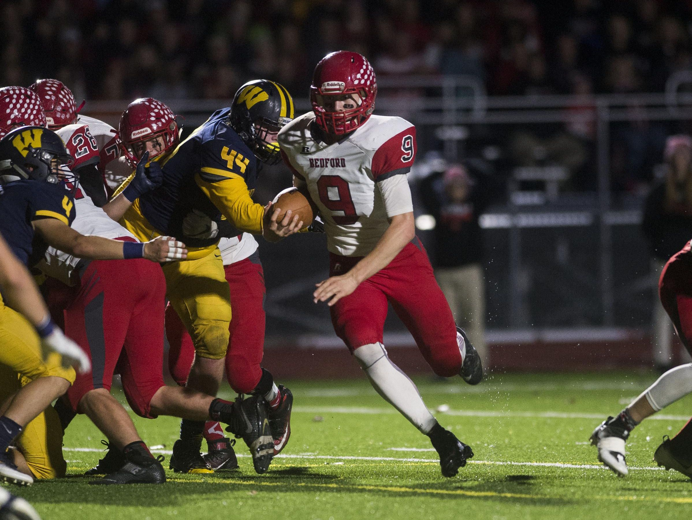 Host Detroit King will try to slow down Temperance Bedford's Joey Wiemer and the Kicking Mules' veer offense in a regional final Saturday.