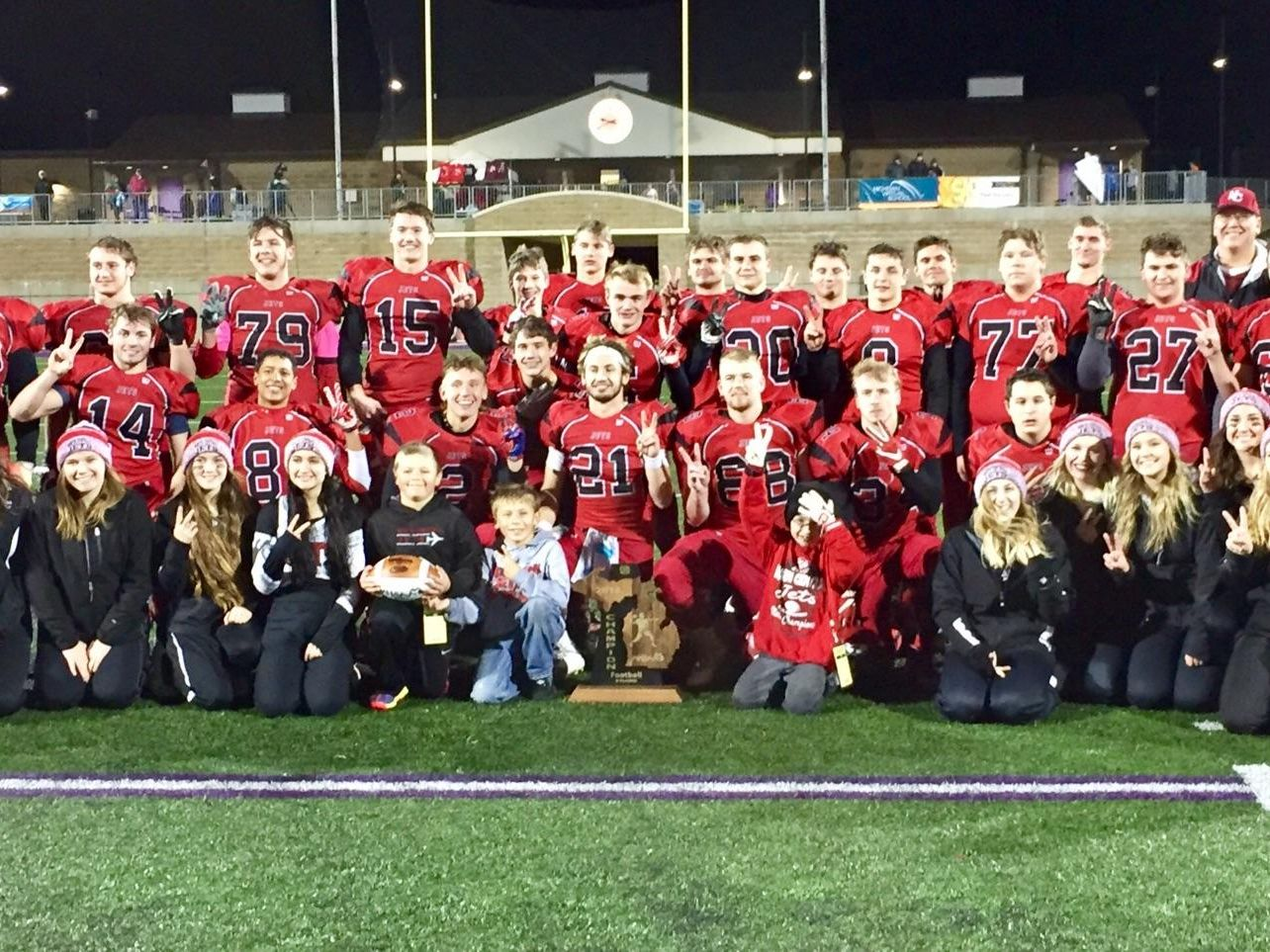 Powers North Central celebrates its 8-man state football championship