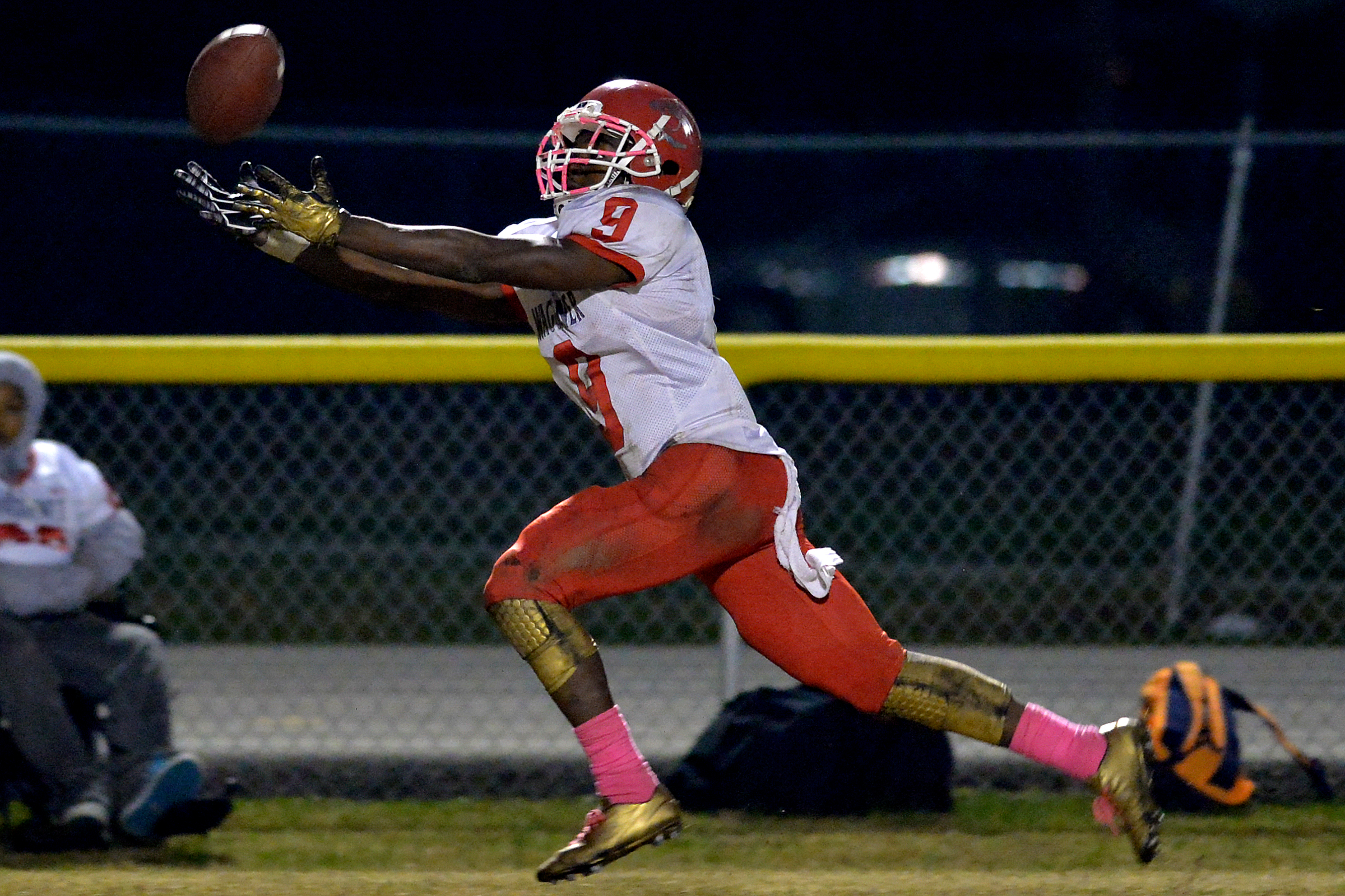 Waggener wide receiver Jairus Brents reaches for the ball during the game against Valley at Valley High School.
