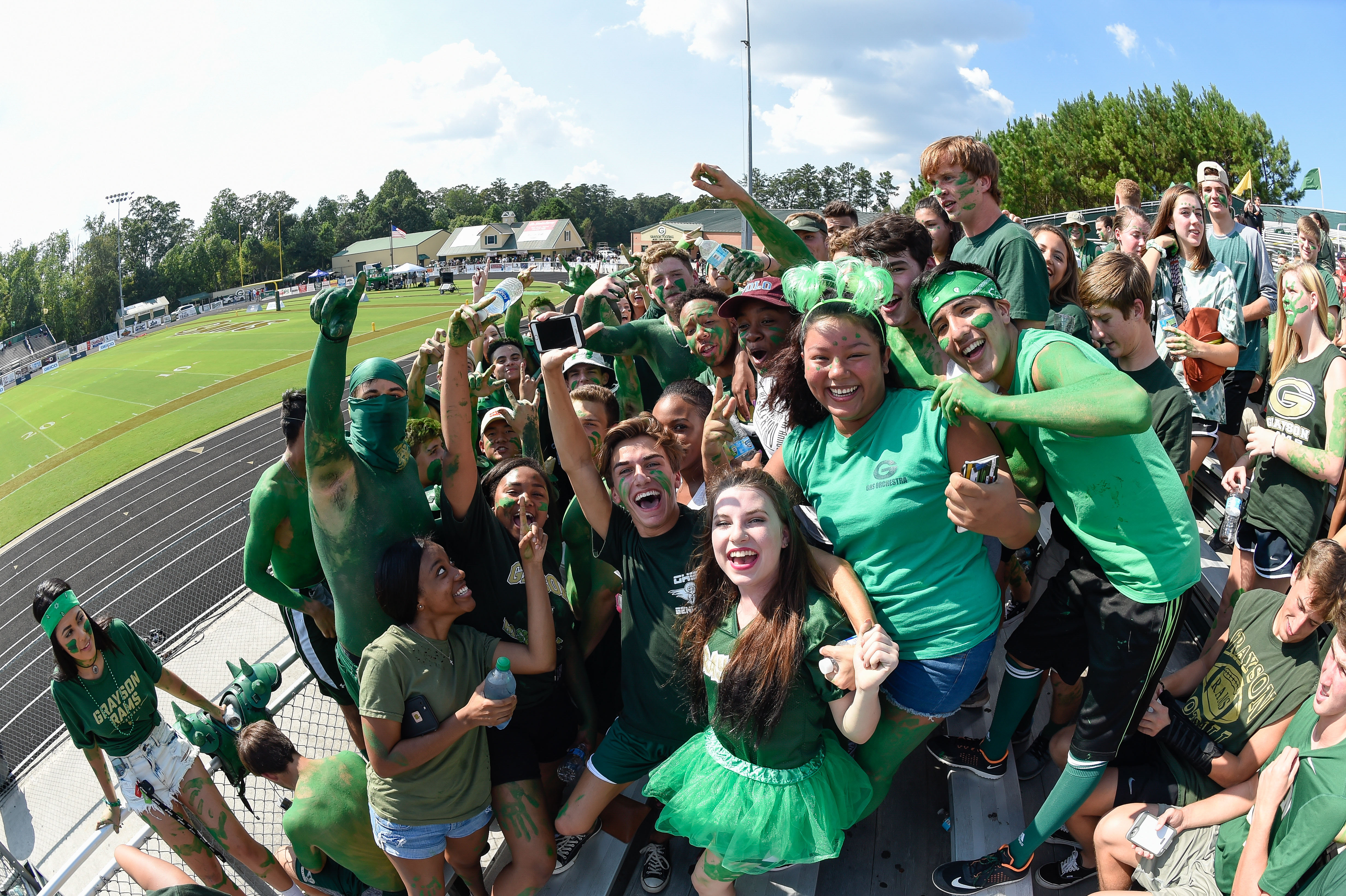 Aug 27, 2016; Loganville, GA, USA; Grayson Rams fans prior to the game against IMG Academy in a high school football duel of top ranked teams at Grayson Community Stadium. Mandatory Credit: Dale Zanine-USA TODAY Sports ORG XMIT: US 135350 high school prep 8/27 ORIG FILE ID: 20160827_lbm_sz2_042.JPG