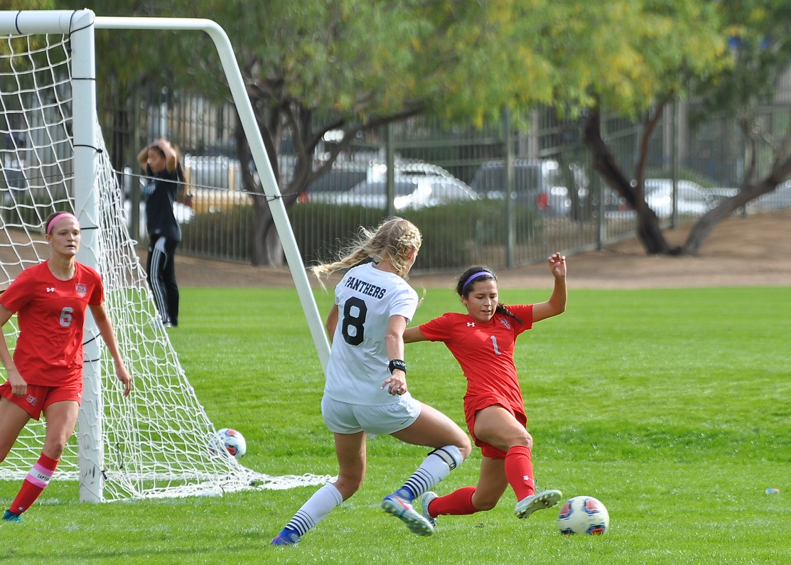 Arbor View junior Sierra Vicente slides for the ball in front of Palo Verde's Alexis Lloyd. Vicente, who tied for second on the team with 18 goals, scored in a state title game for the third consecutive season. (Photo: Courtesy of Arbor View soccer)