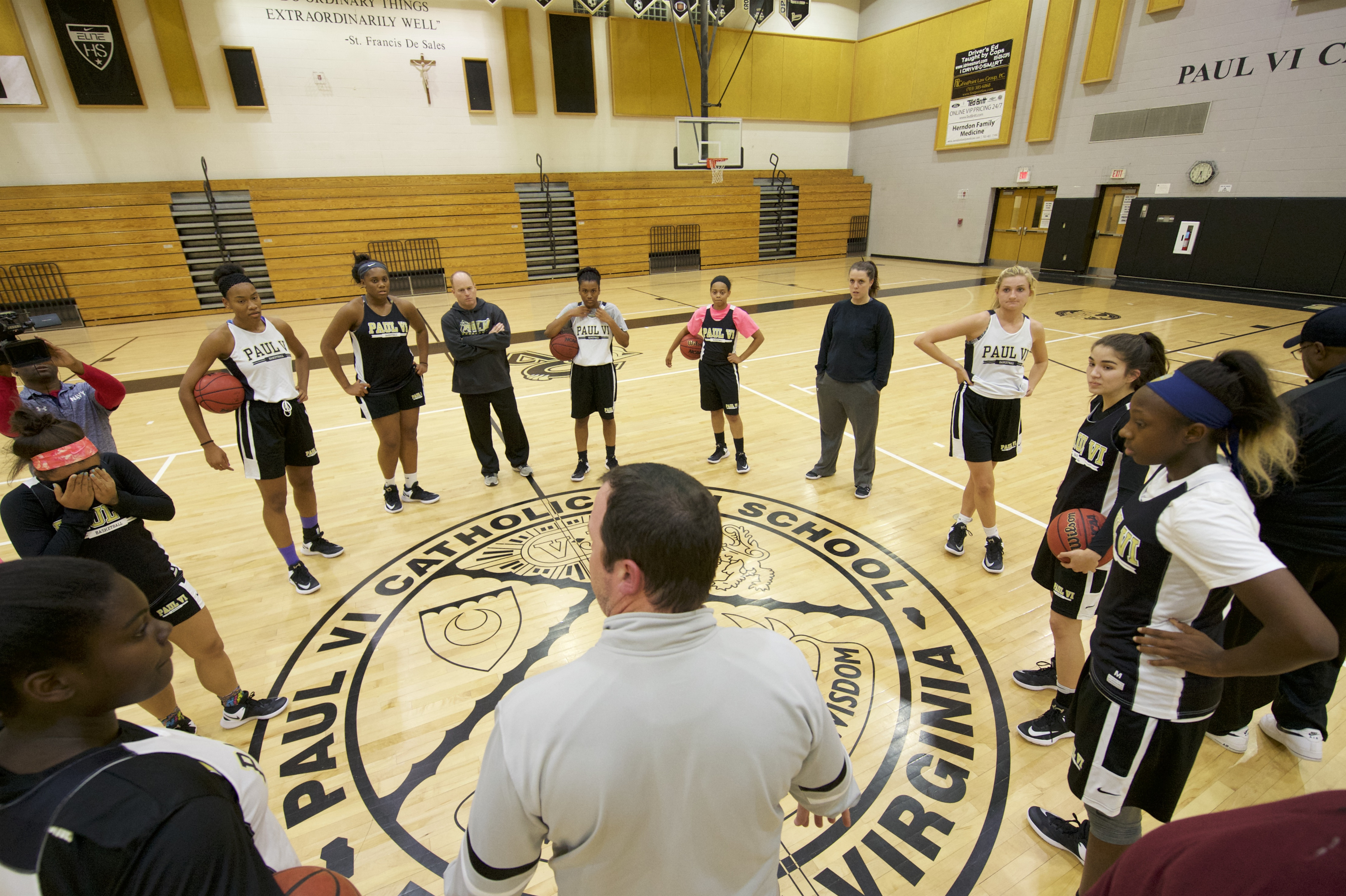 11/14/16 5:32:23 PM -- Fairfax, VA, U.S.A -- Paul VI Catholic High School in Fairfax, Virginia will be one of our top ranked girls basketball teams. Head coach Scot Allen bring gathers the girls basketball team together before practice. -- Photo by Rafael Suanes/USA TODAY Sports Images, Gannett ORG XMIT: US 135760 Pual VI 11/14/2016 [Via MerlinFTP Drop]