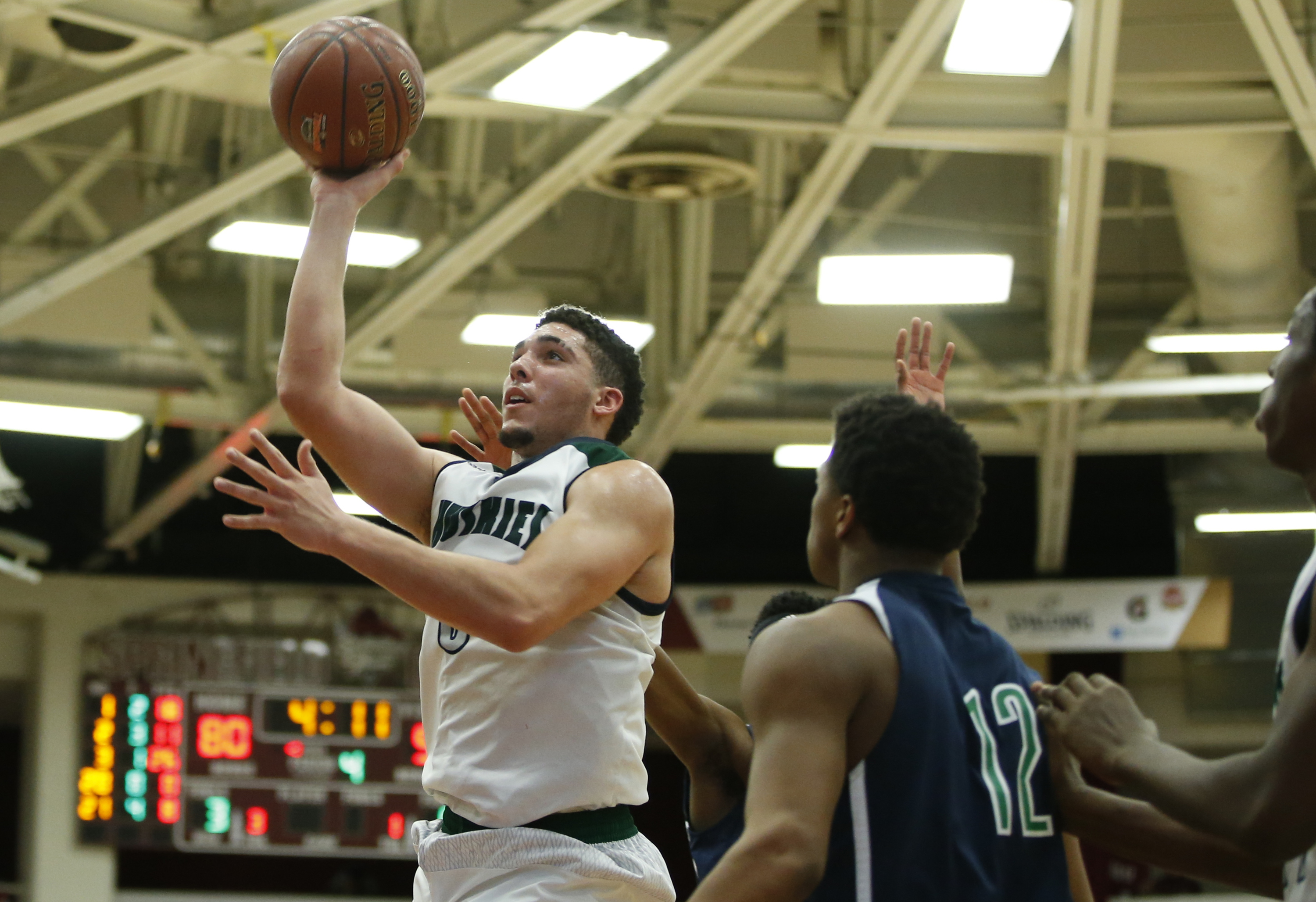 Jan 18, 2016 -- Springfield, MA, U.S.A -- Chino Hills LiAngelo Ball (3) shoots against High Point Christian in the second half of the Spalding Hoophall Classic at Blake Arena in Springfield, Mass. Chino Hills defeated High Point Christian 100-75. -- Photo by David Butler II-USA Today Sports Images ORG XMIT: US 134344 Spalding Hoophal 1/17/2016 [Via MerlinFTP Drop]
