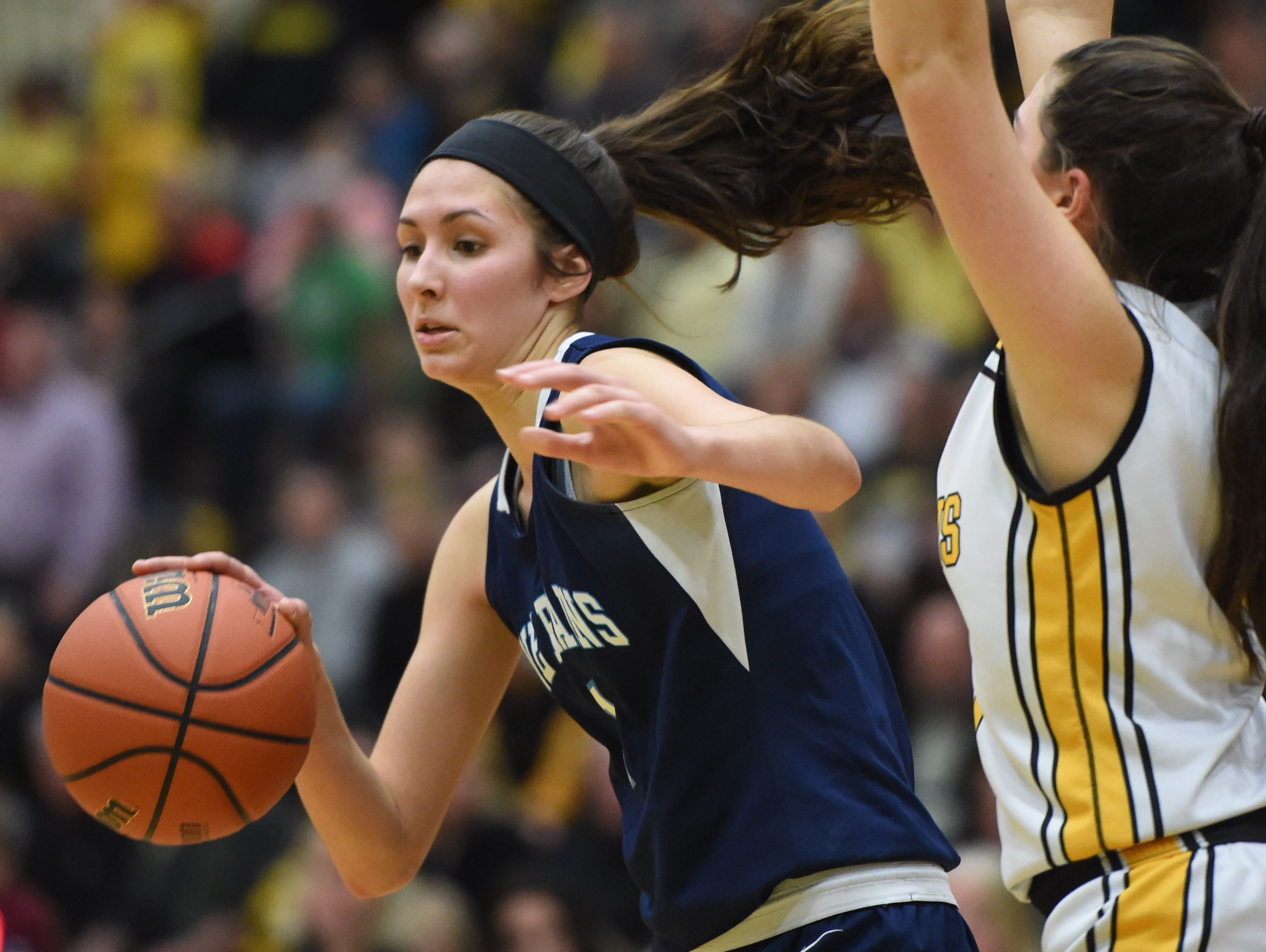 Pine Plains' Ashley Starzyk dribbles around a South Seneca defender during the Class C state final in March.