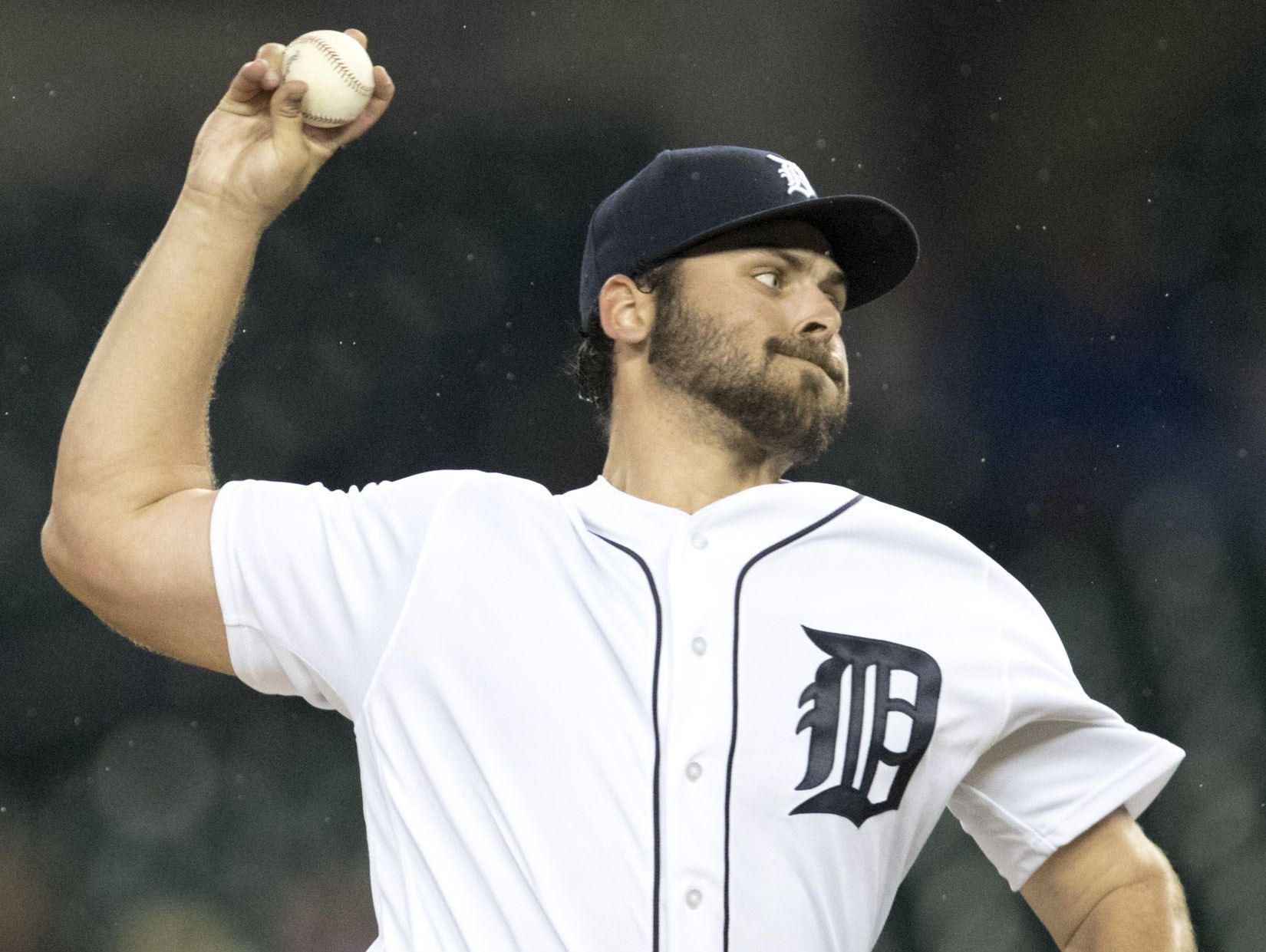 Sep 28, 2016; Detroit, MI, USA; Detroit Tigers starting pitcher Michael Fulmer pitches the ball during the fourth inning against the Cleveland Indians at Comerica Park.