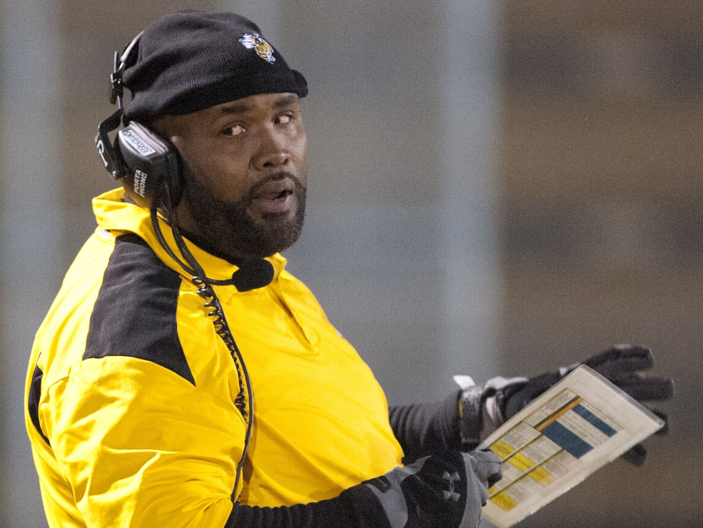 Central head football coach Tyrran Scroggins looks at his team on the sidelines in the KHSAA Class 3-A state semi-final. 25 November 2016