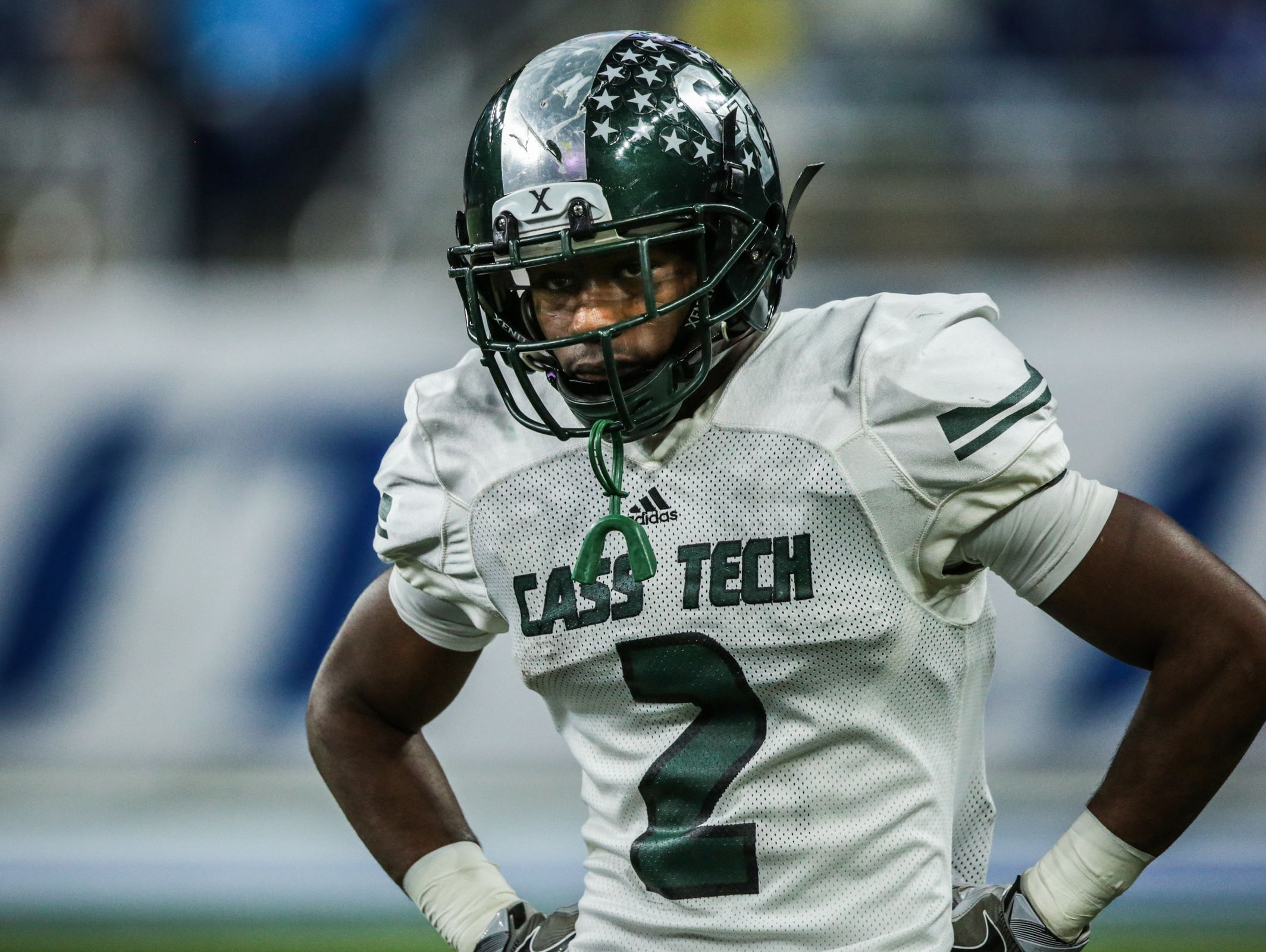 Detroit Cass Tech's Donovan Johnson (2) during the Division 1 High School Championship game against Detroit Catholic Central on Saturday November 26, 2016, at Ford Field in Detroit, MI.