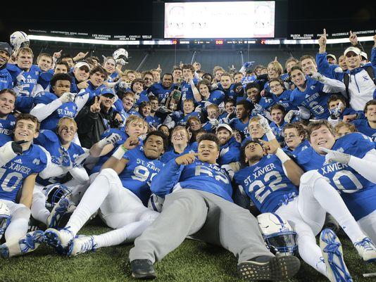 St. Xavier celebrates its state championship (Photo: Kareem Elgazzar, Cincinnatti Enquirer)