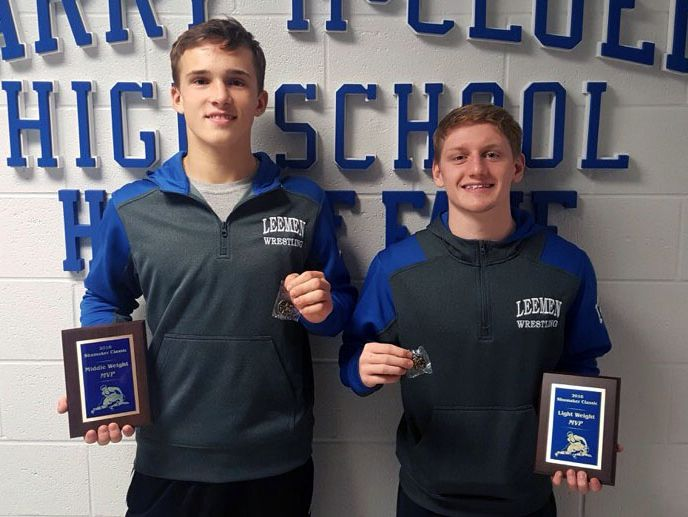 Robert E. Lee's Banner Robson, left, was named Middle Weight MVP at the Shumaker Wrestling Classic this weekend, while teammate Alex Williams, right was named Light Weight MVP.