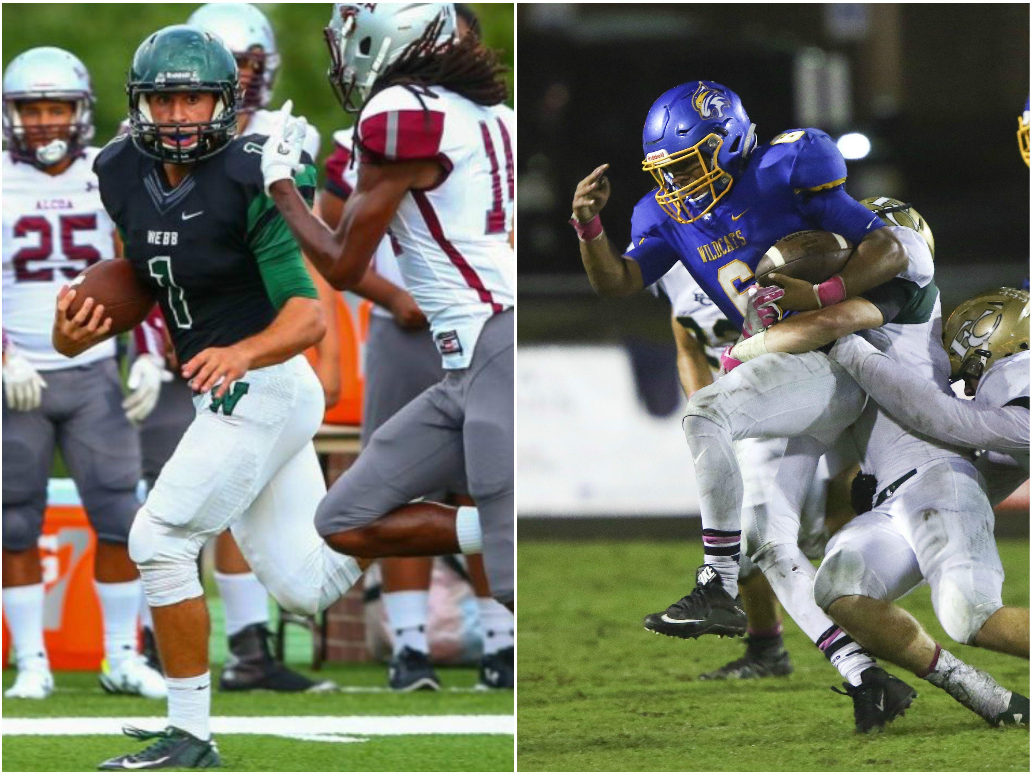 Knoxville Webb linebacker Morgan Ernst (left) and DCA running back Jayden Walker (right)