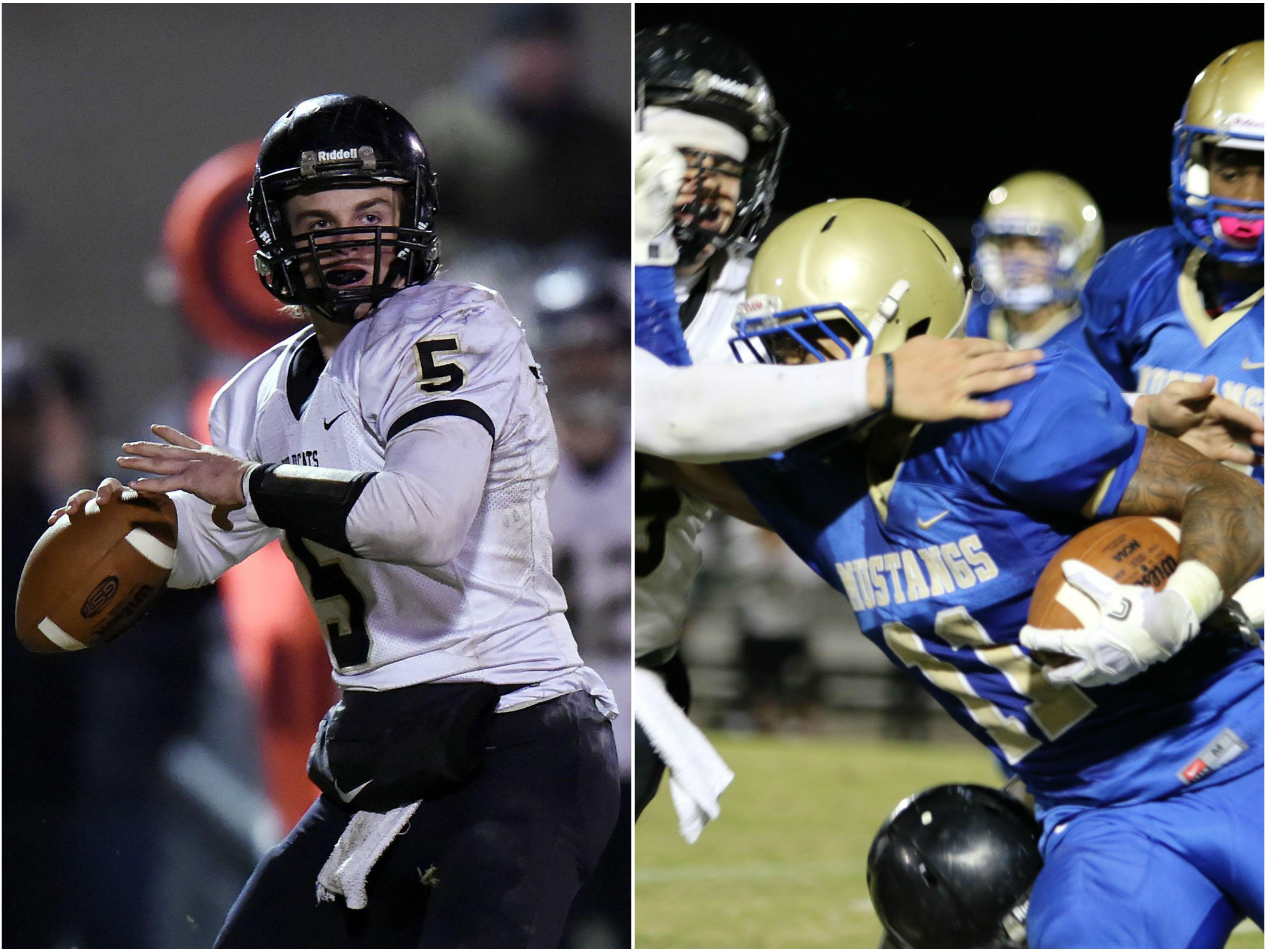 Wayne County quarterback Preston Rice (left) and Huntgindon's Dylan Johnson (right)