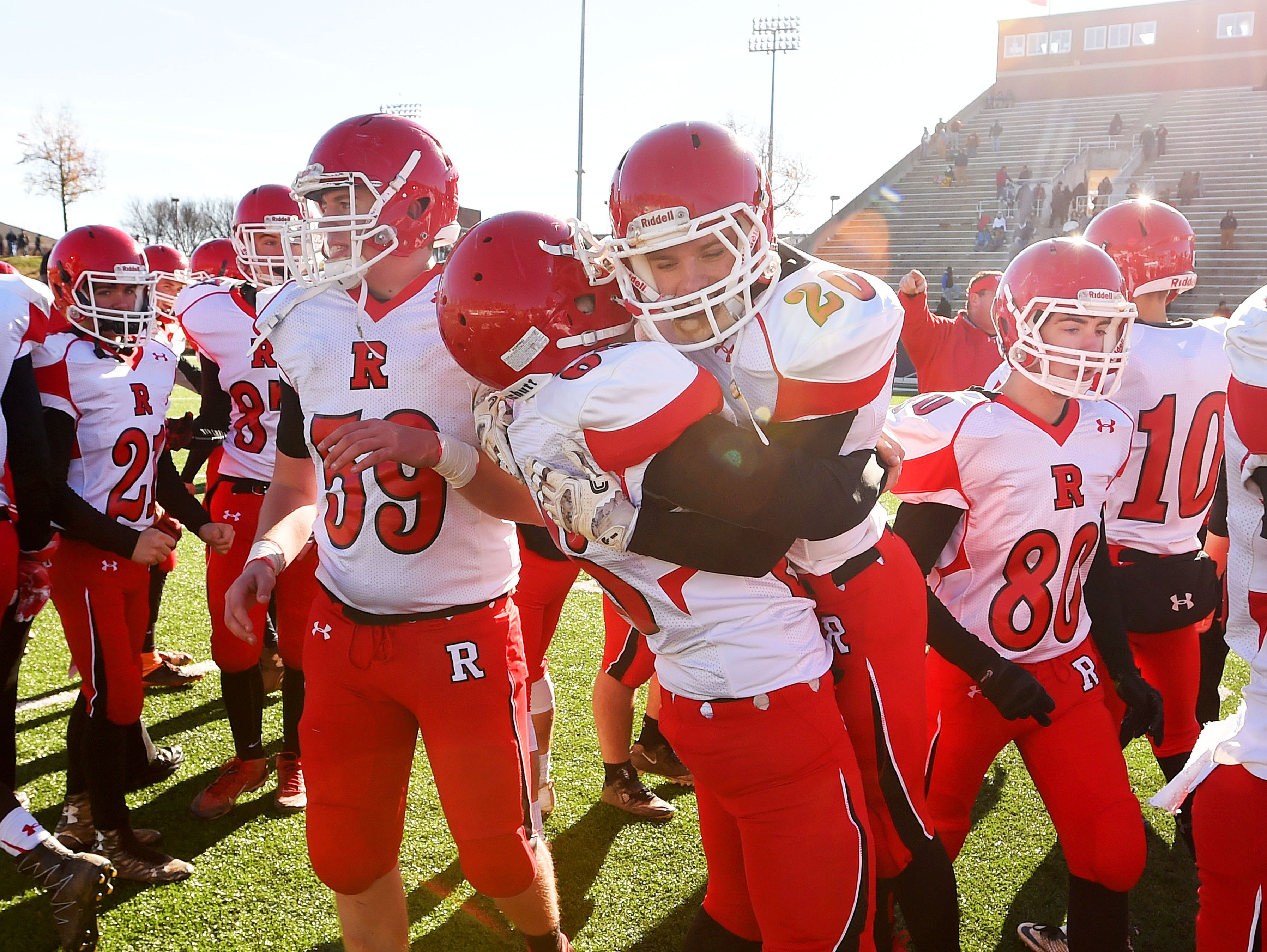 Riverheads' players celebrates their win over Sussex Central to win the Group 1A state championship football game played in Salem on Saturday, Dec. 10, 2016. Riverheads won the game, 49-6.