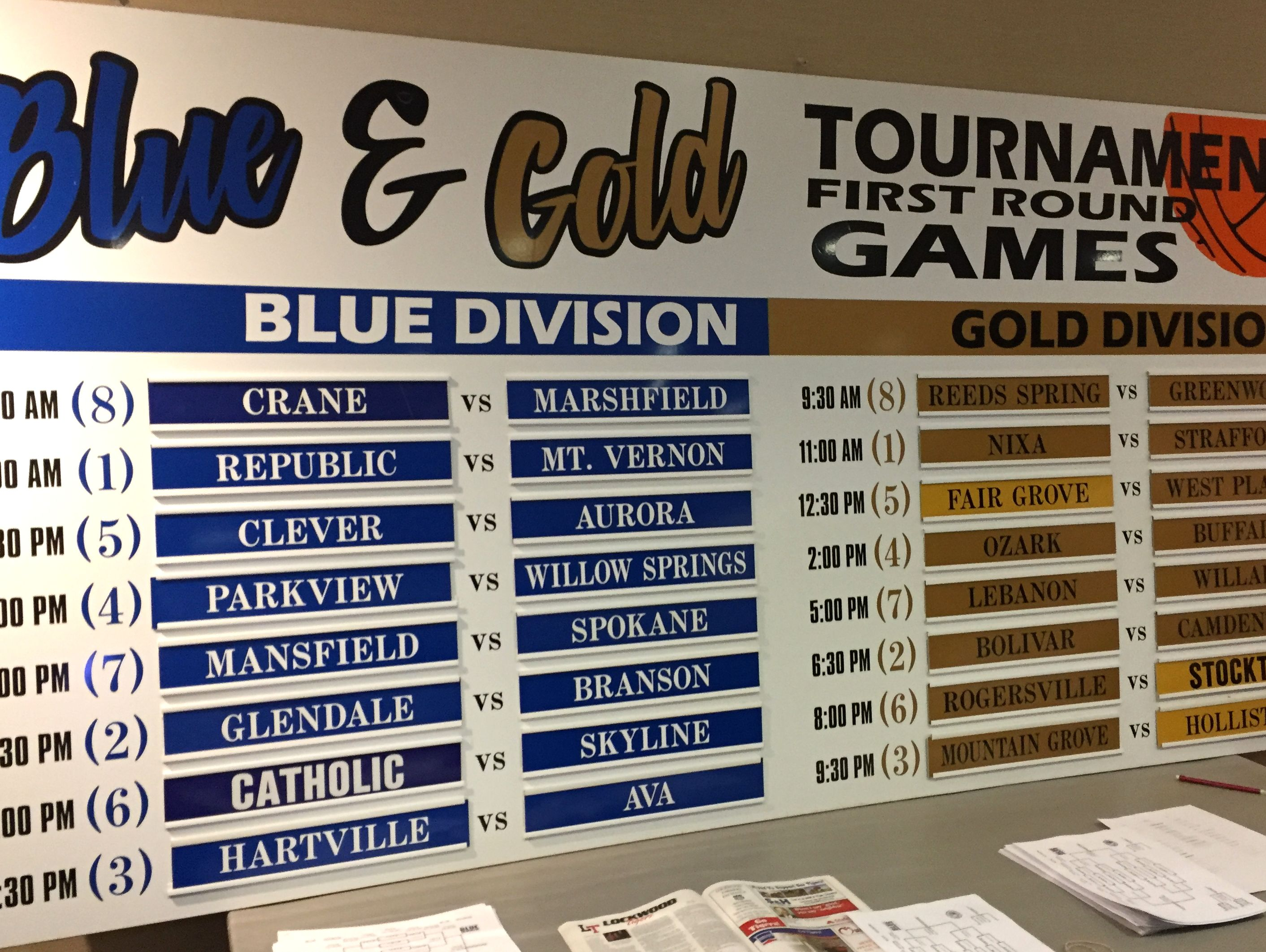 High school basketball coaches learned of the pairings for the 2016 Greenwood Blue and Gold Basketball Tournament on Dec. 14 at JQH Arena.