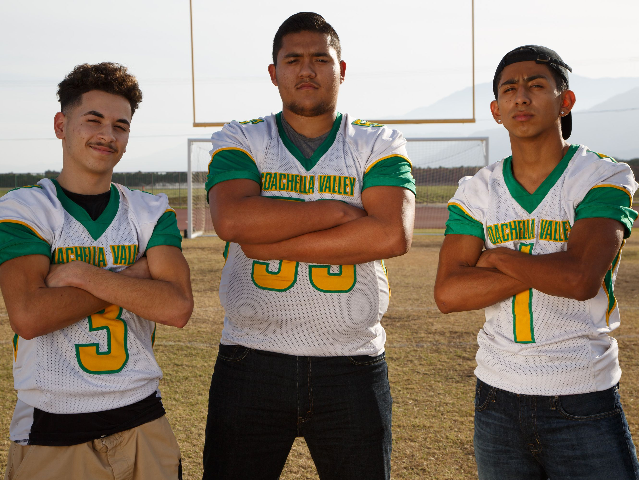 JJ Rodriguez, Nick Hernandez, and Armando Deniz, frorm left to right, of Coachella Valley High School are selected to the All Desert Sun football team, Wednesday, Dec. 14, 2016.