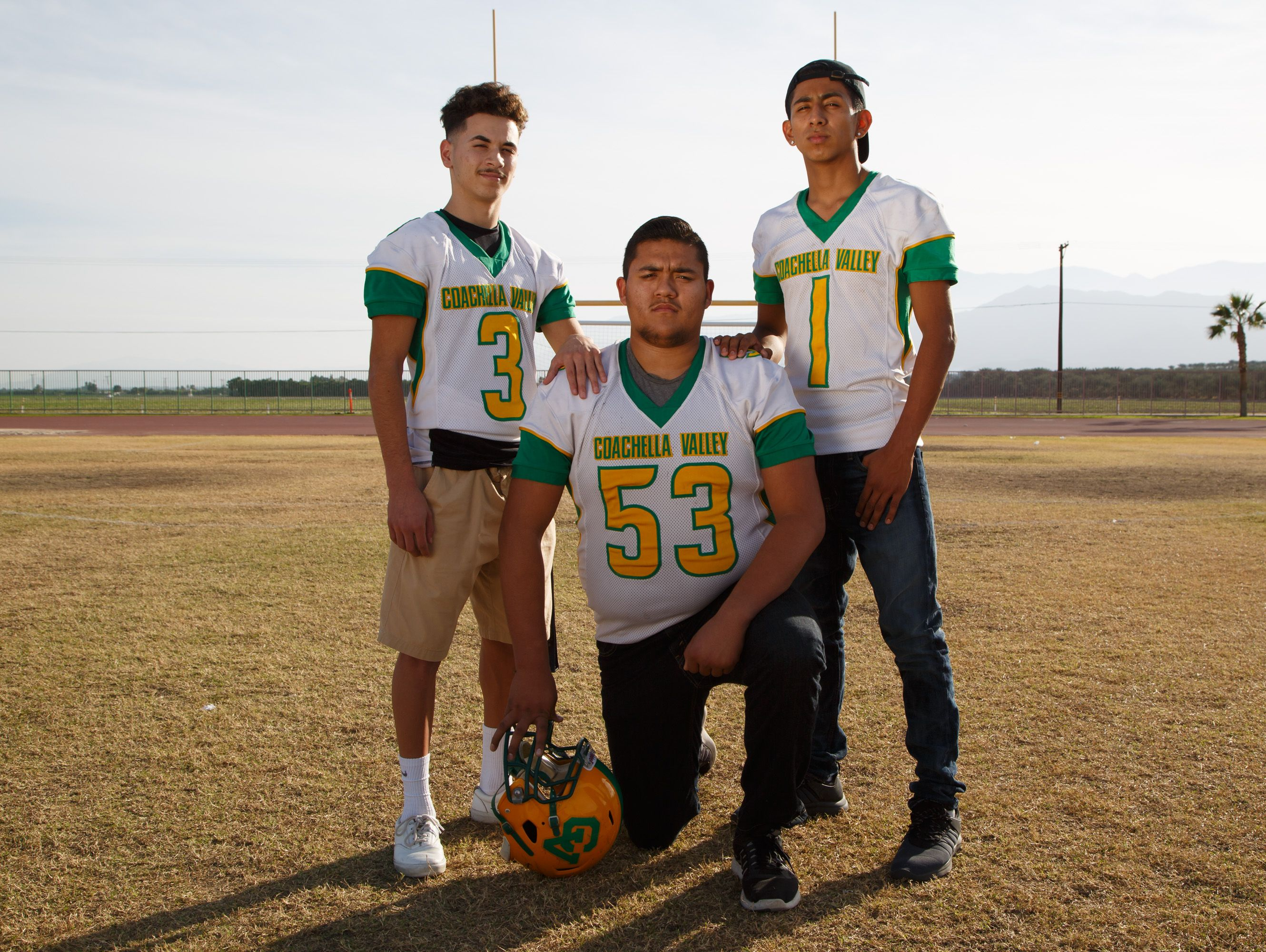 JJ Rodriguez, Nick Hernandez, and Armando Deniz, from left to right, of Coachella Valley High School are selected to the All Desert Sun football team, Wednesday, Dec. 14, 2016.