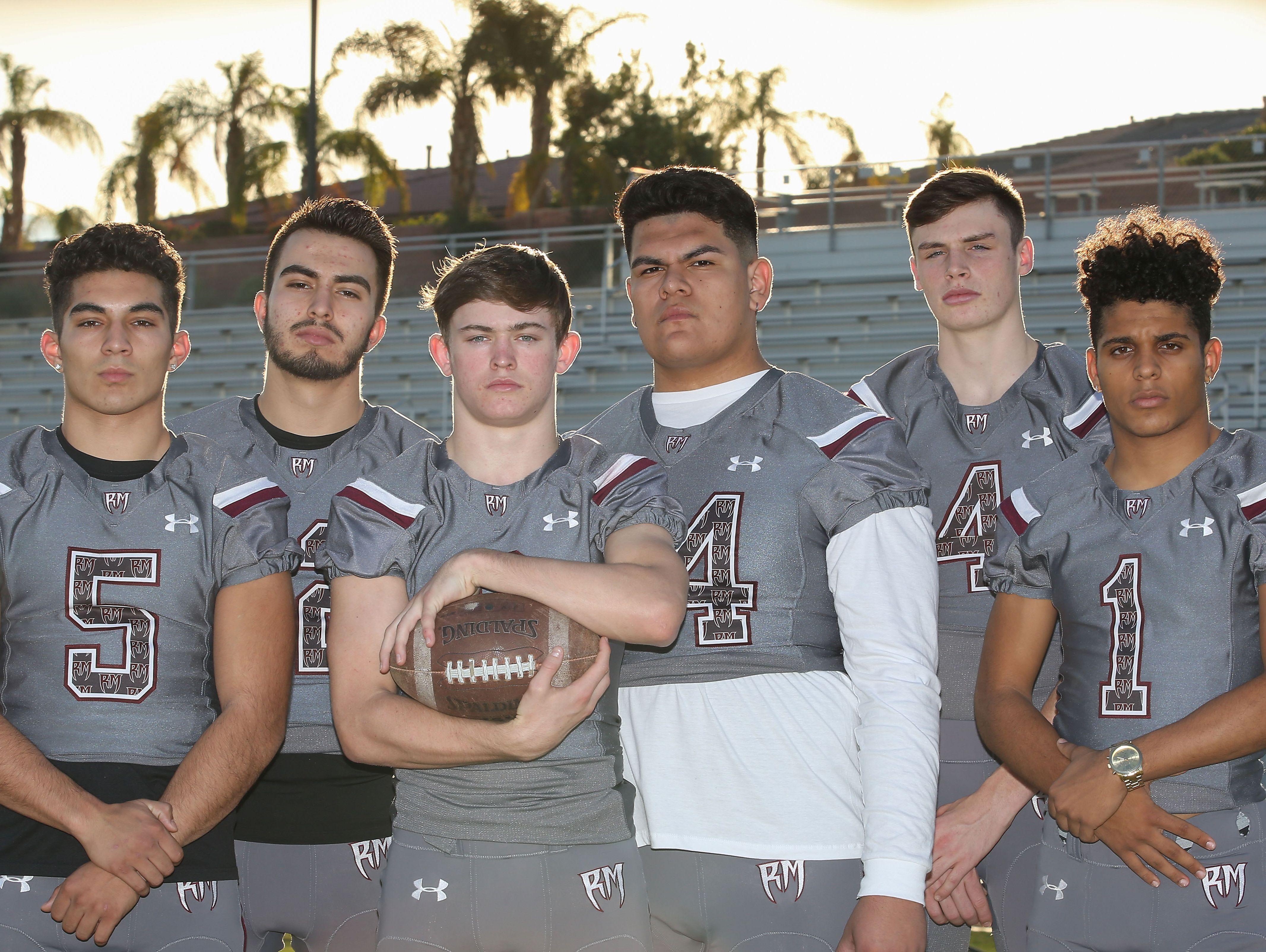 From right; Marques Prior, Daniel Whelan, Jonny Avila, Kyle Whitefield, Josh Ramirez and Mikey Ramos of the Rancho Mirage High School football team.