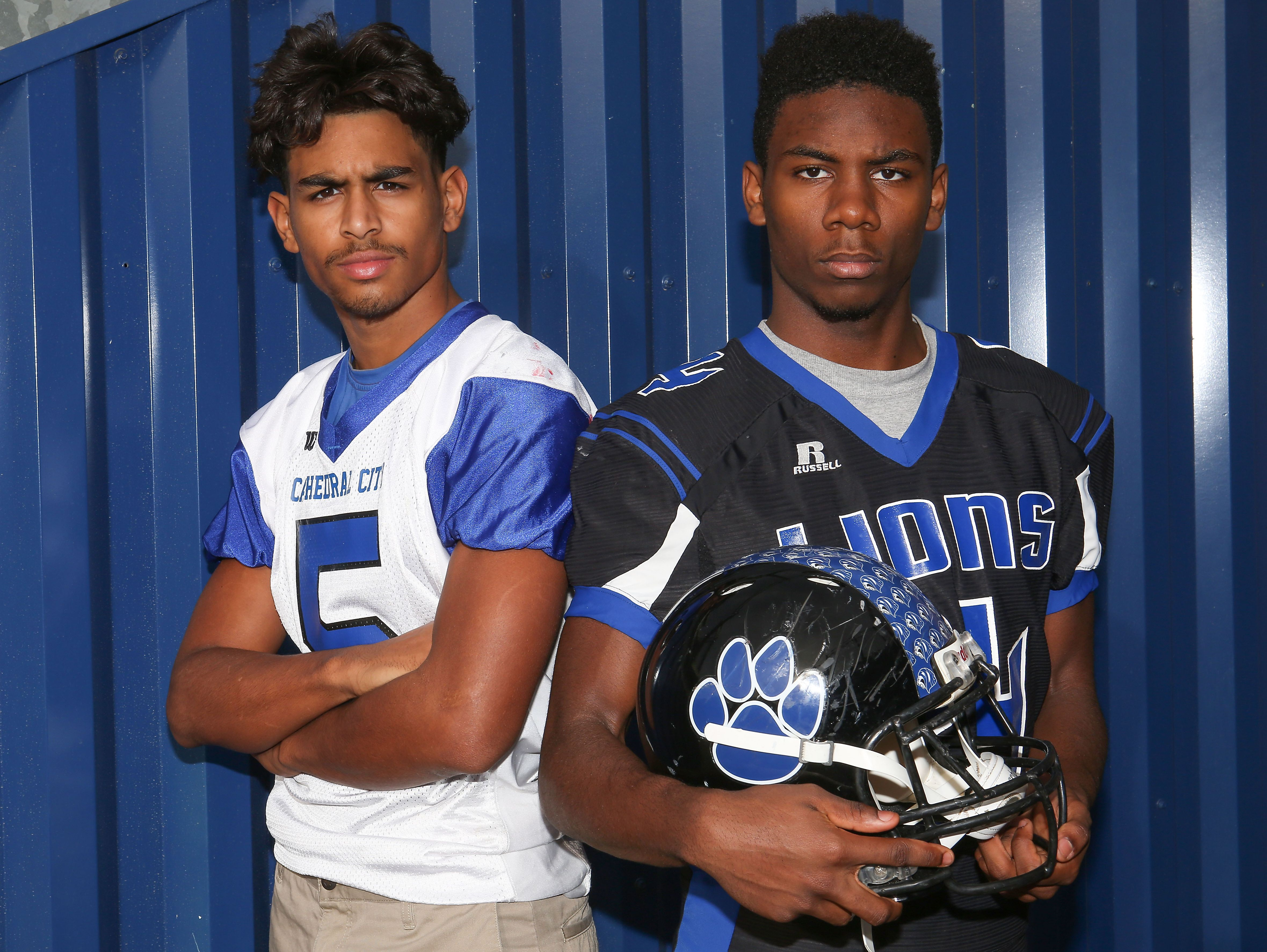 Jordan Wallace, left, and James Green of the Cathedral City High School football program, December 14, 2016.