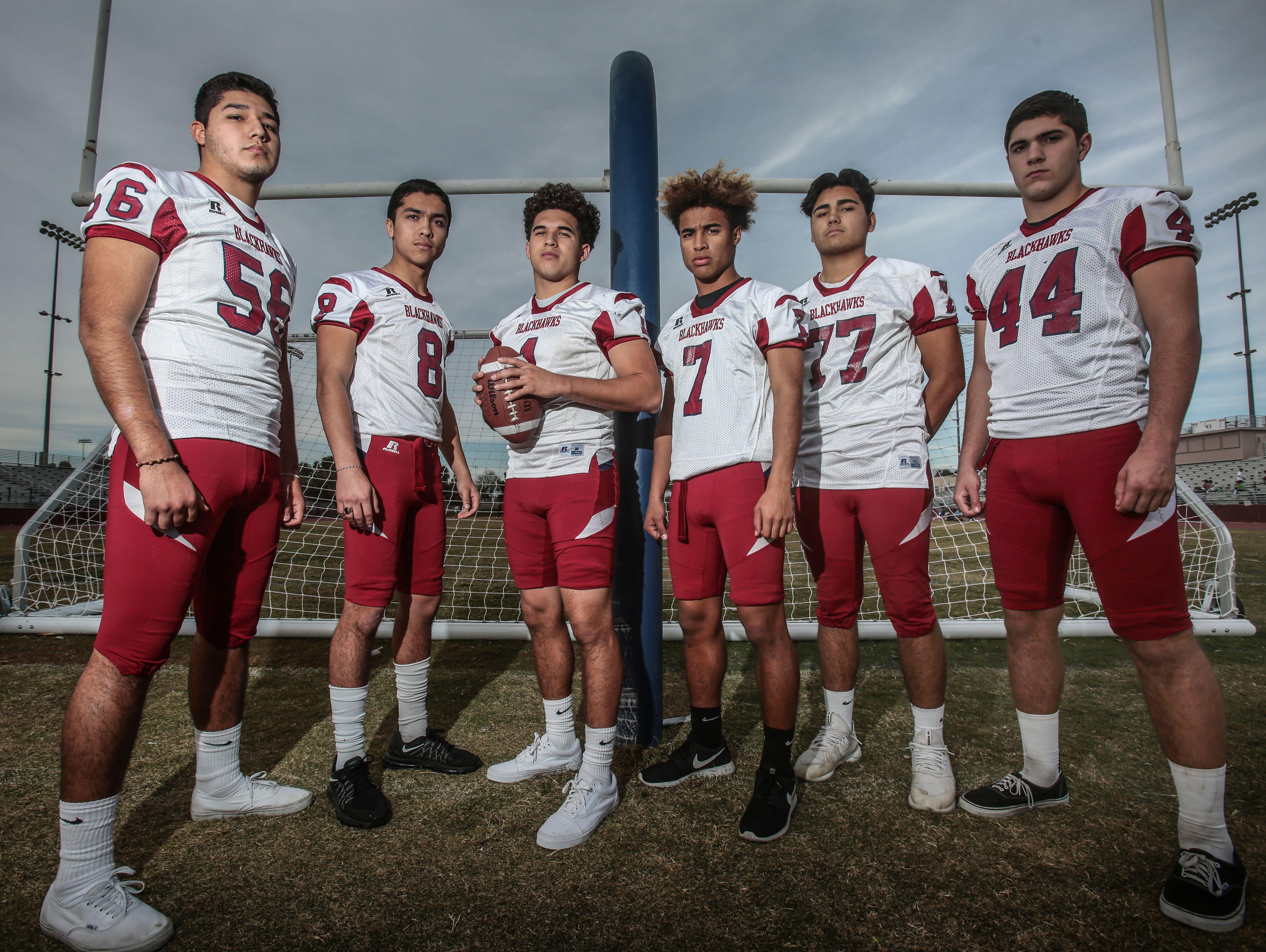 (From the left) La Quinta High football players Robert Cruz, Ricky Vargas, Benji Cordova, Justin Anderson, Matt Rodriguez, Gordon Haskell on Wednesday, December 14, 2016 in La Quinta.