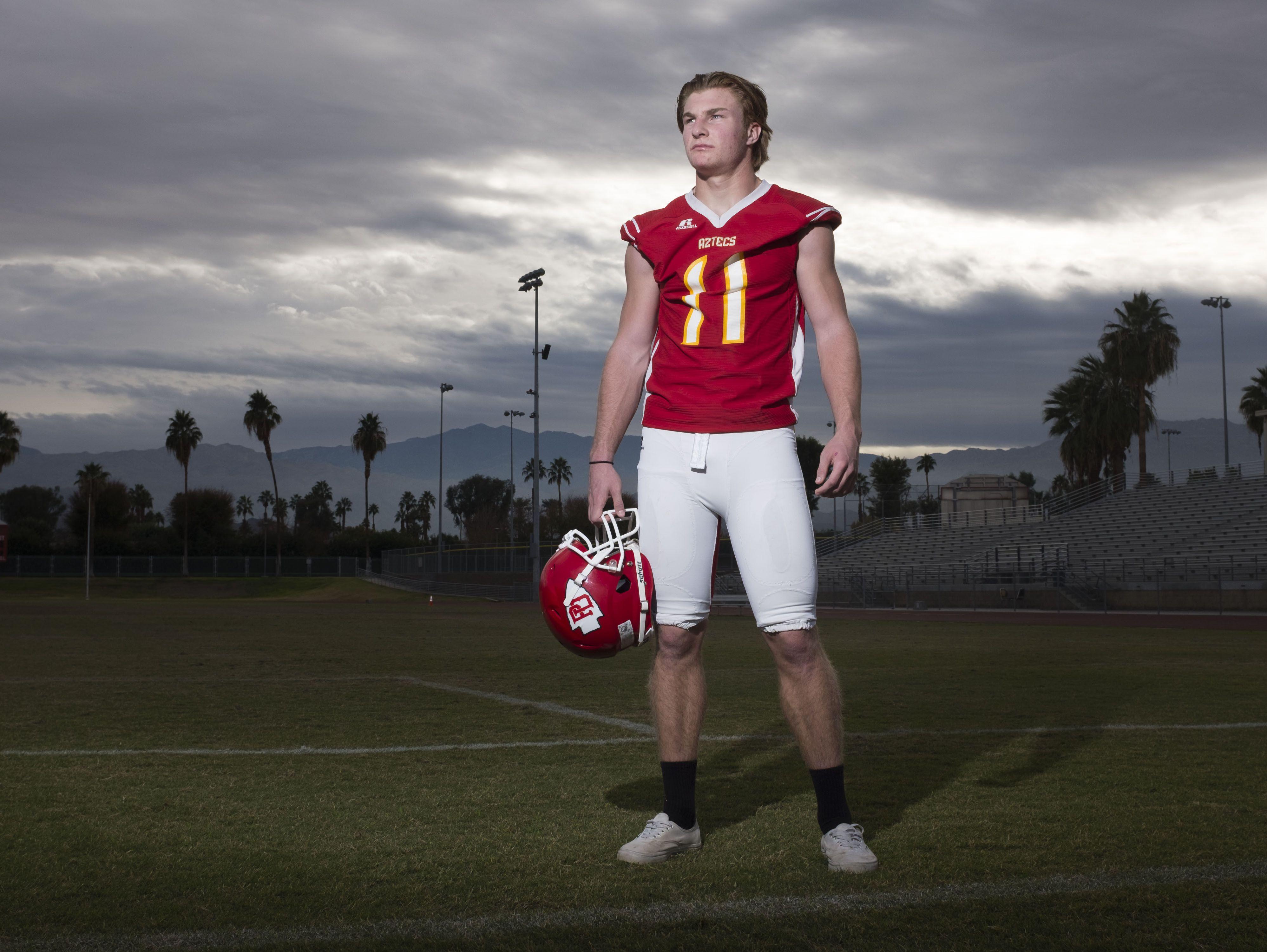Aztec football player Brooks Stephenson on Thursday, December 15, 2016 in Palm Desert.