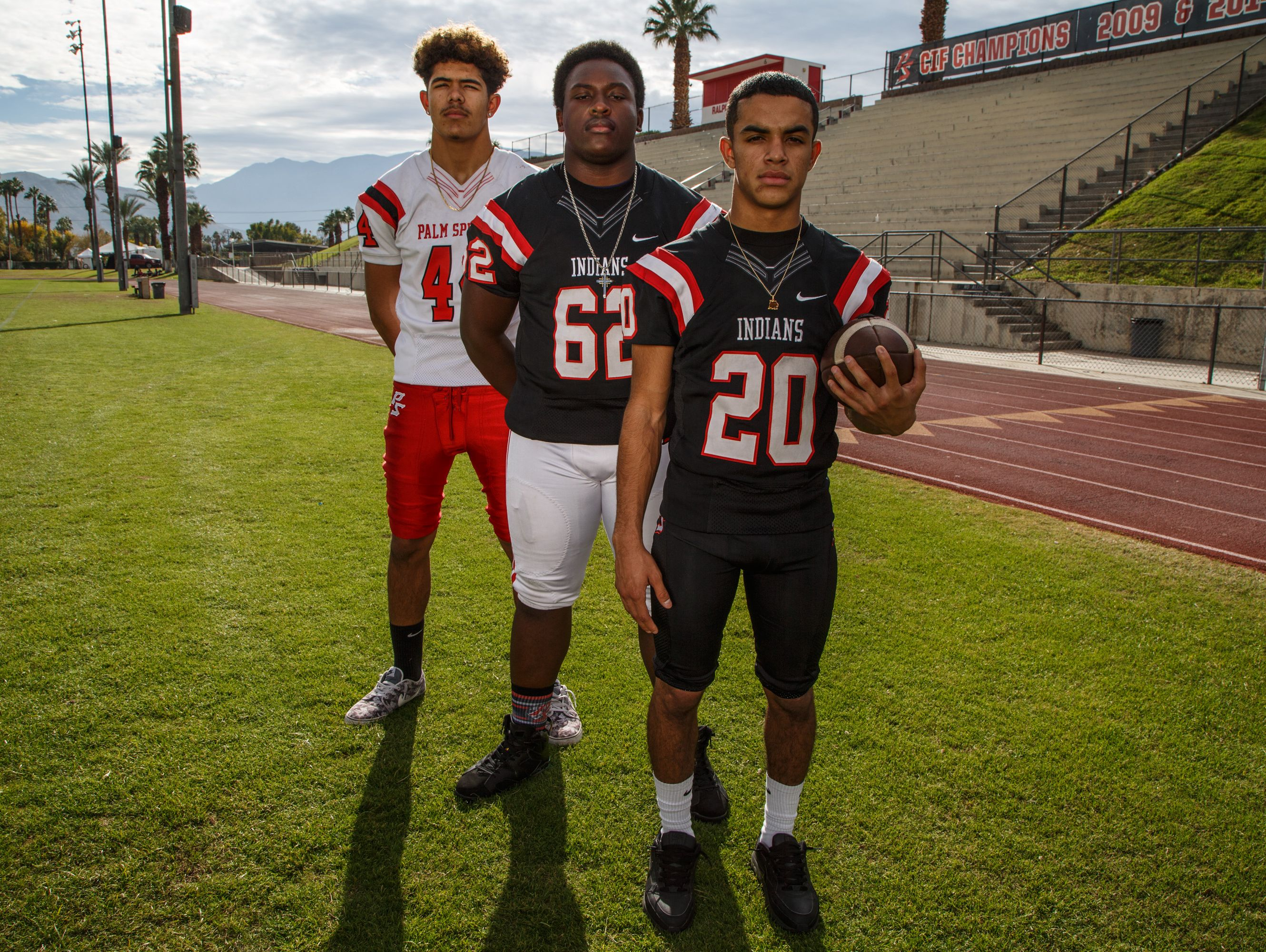 Andrew Clark, Donovan Russell and Nick Reyes-Foster, from left to right, of Palm Springs High School are selected to the All Desert Sun football team, Thursday, Dec. 15, 2016.