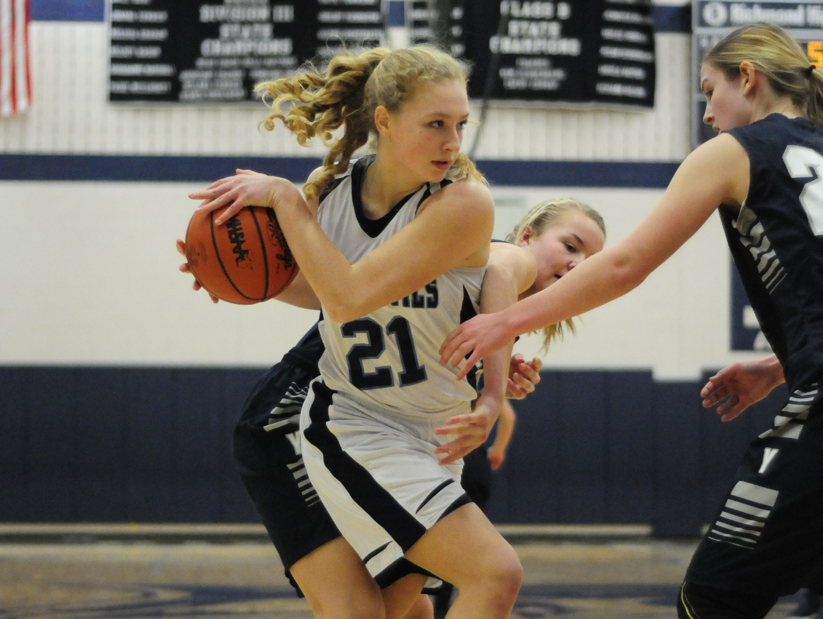 Richmond junior Jessica Weaver rips the ball away from Yale on Dec. 15, 2016.