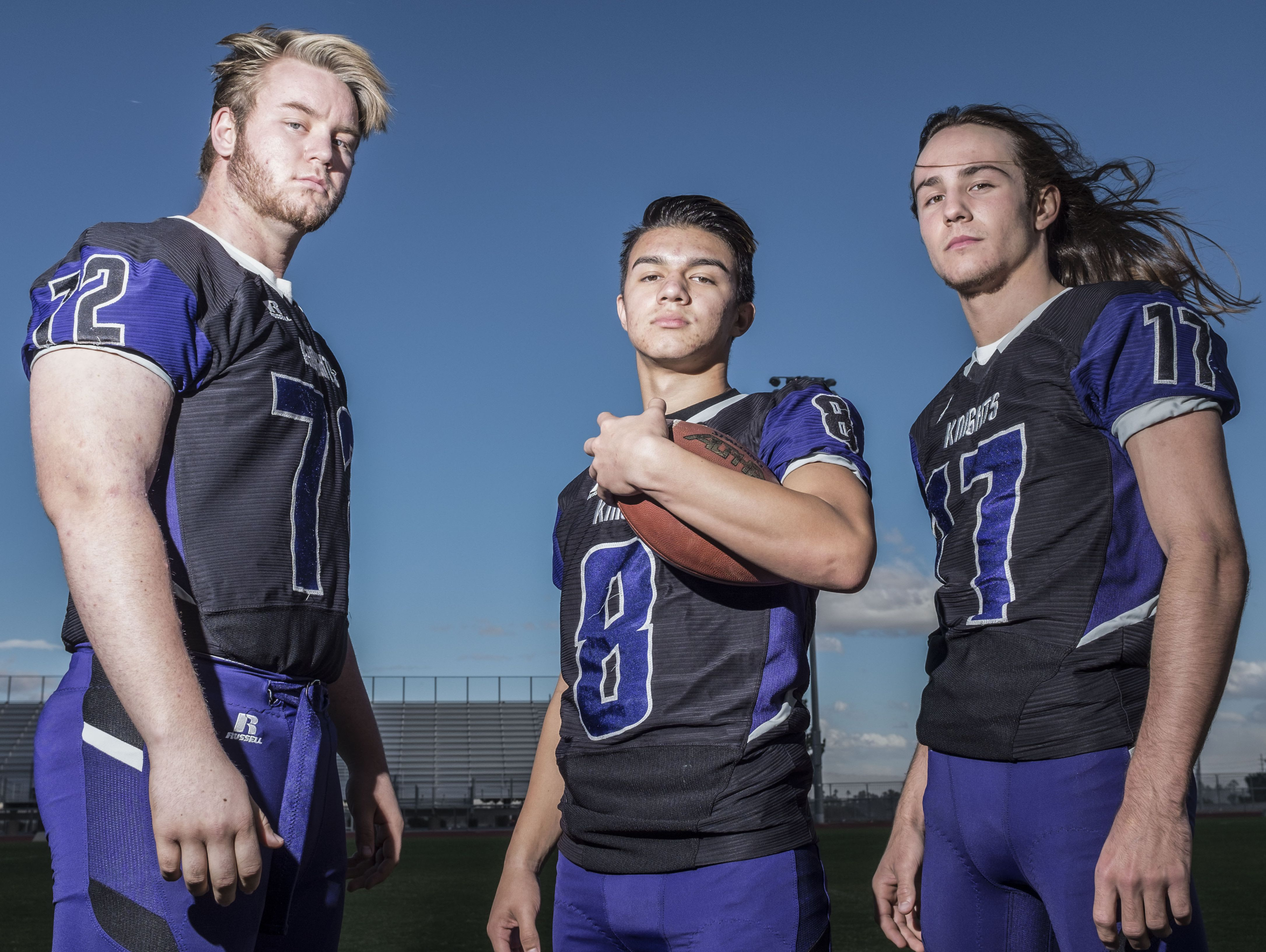(From the left) Knights football players JT Lew, Kaleb Welmas and JD Lang at Shadow Hills High School on Friday, December 16, 2016 in Indio.