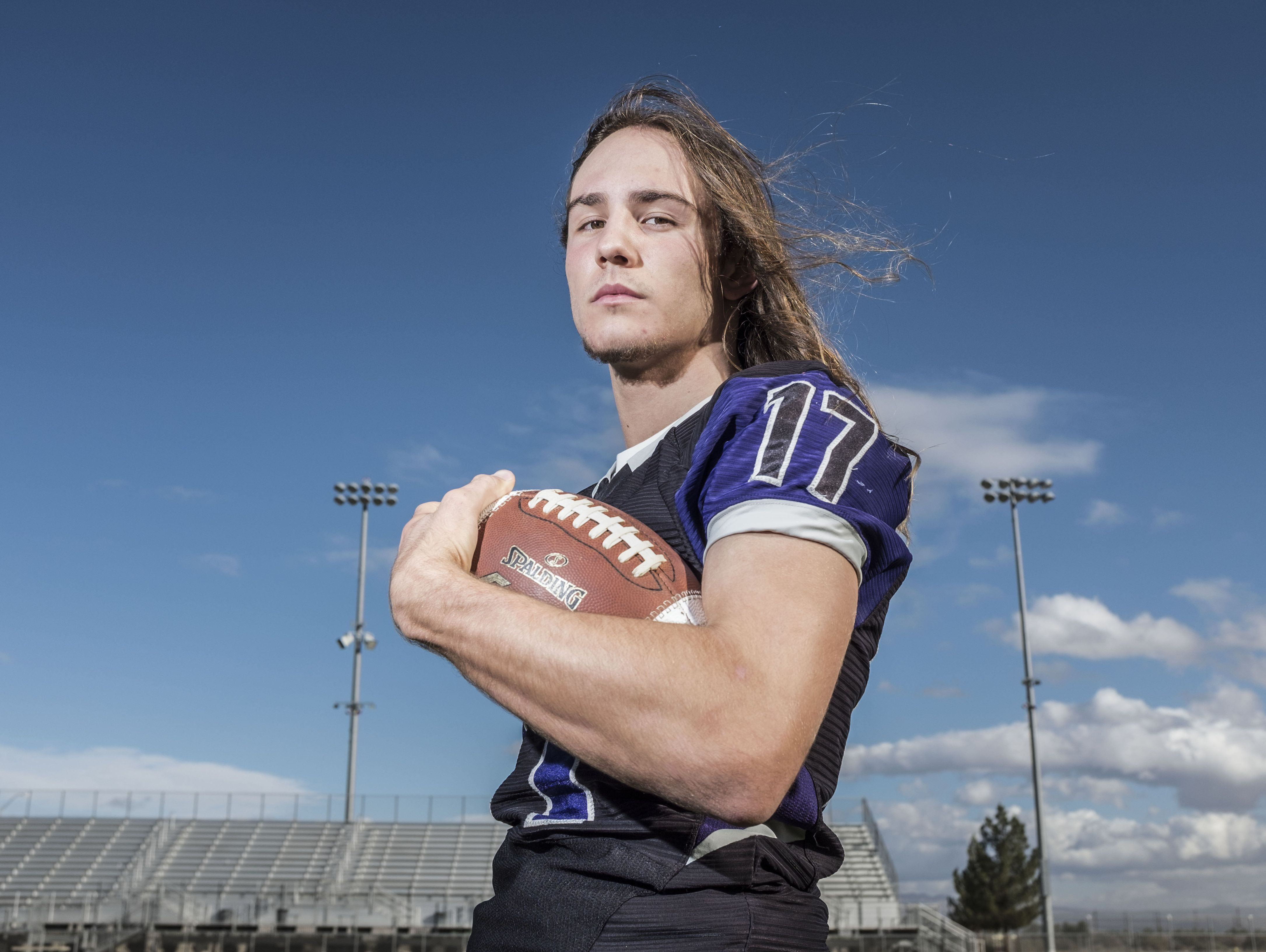 Knights football player JD Lang at Shadow Hills High School on Friday, December 16, 2016 in Indio.