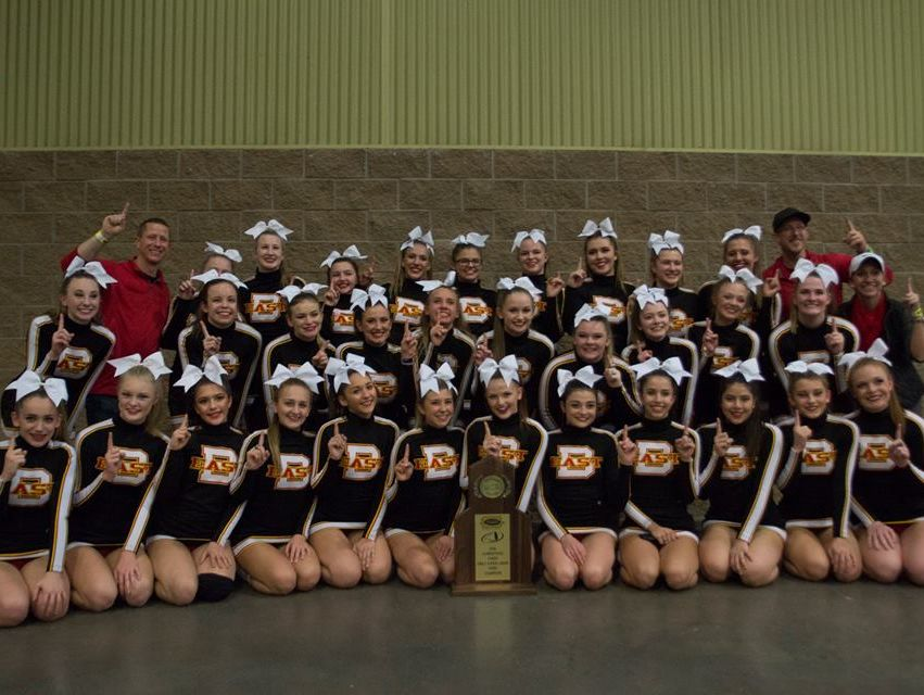 The Bullitt East competitive cheerleading team celebrates its third consecutive state championship on Dec. 10. The squad has been named The Courier-Journal Competitive Cheerleading Team of the Year.