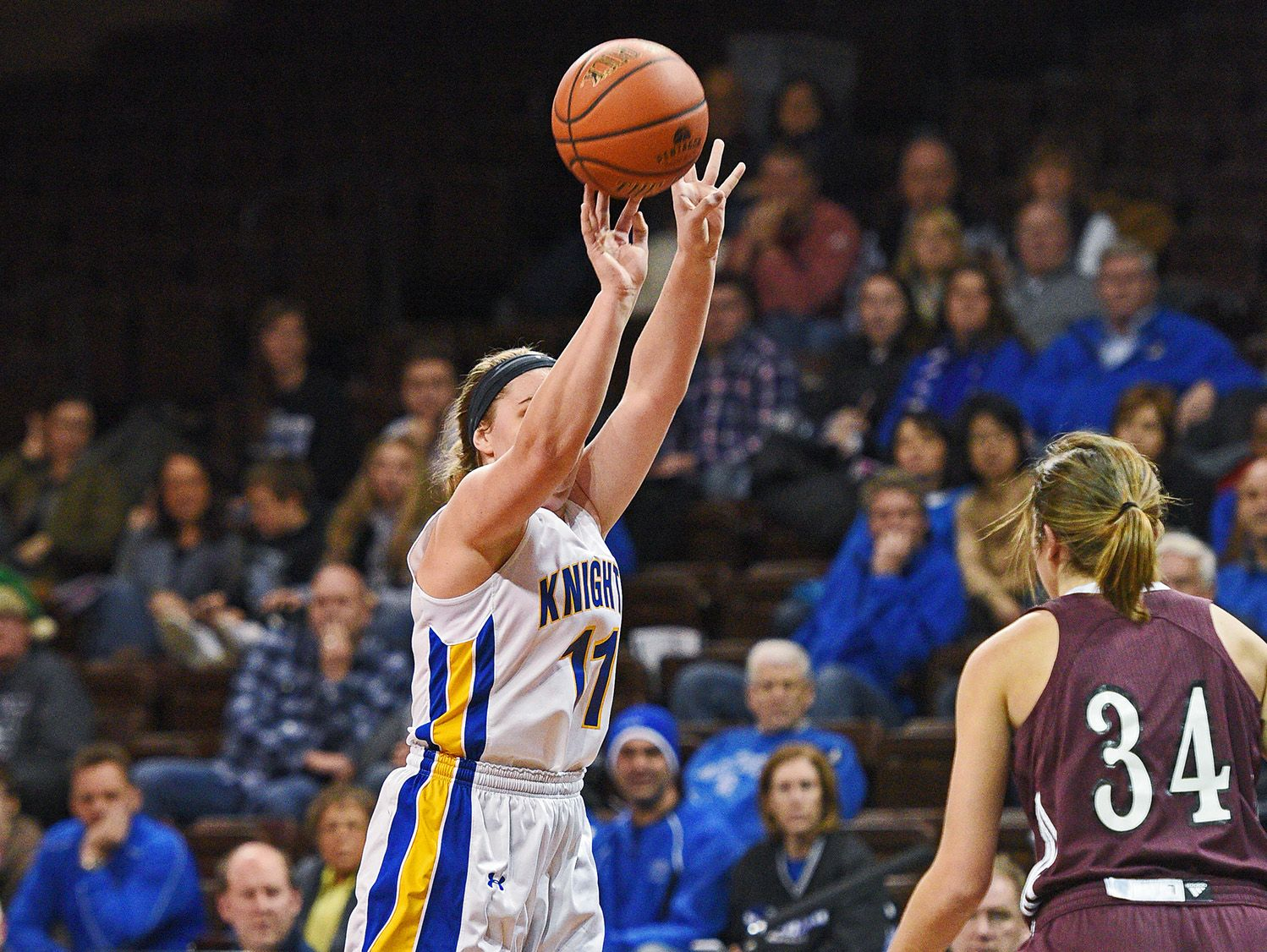 O'Gorman's McKenzie Hermanson (11) takes a shot during a game against Western Christian during the Edith Sanford Breast Center Girls Pentagon Classic Saturday, Dec. 17, 2016, at the Sanford Pentagon in Sioux Falls.